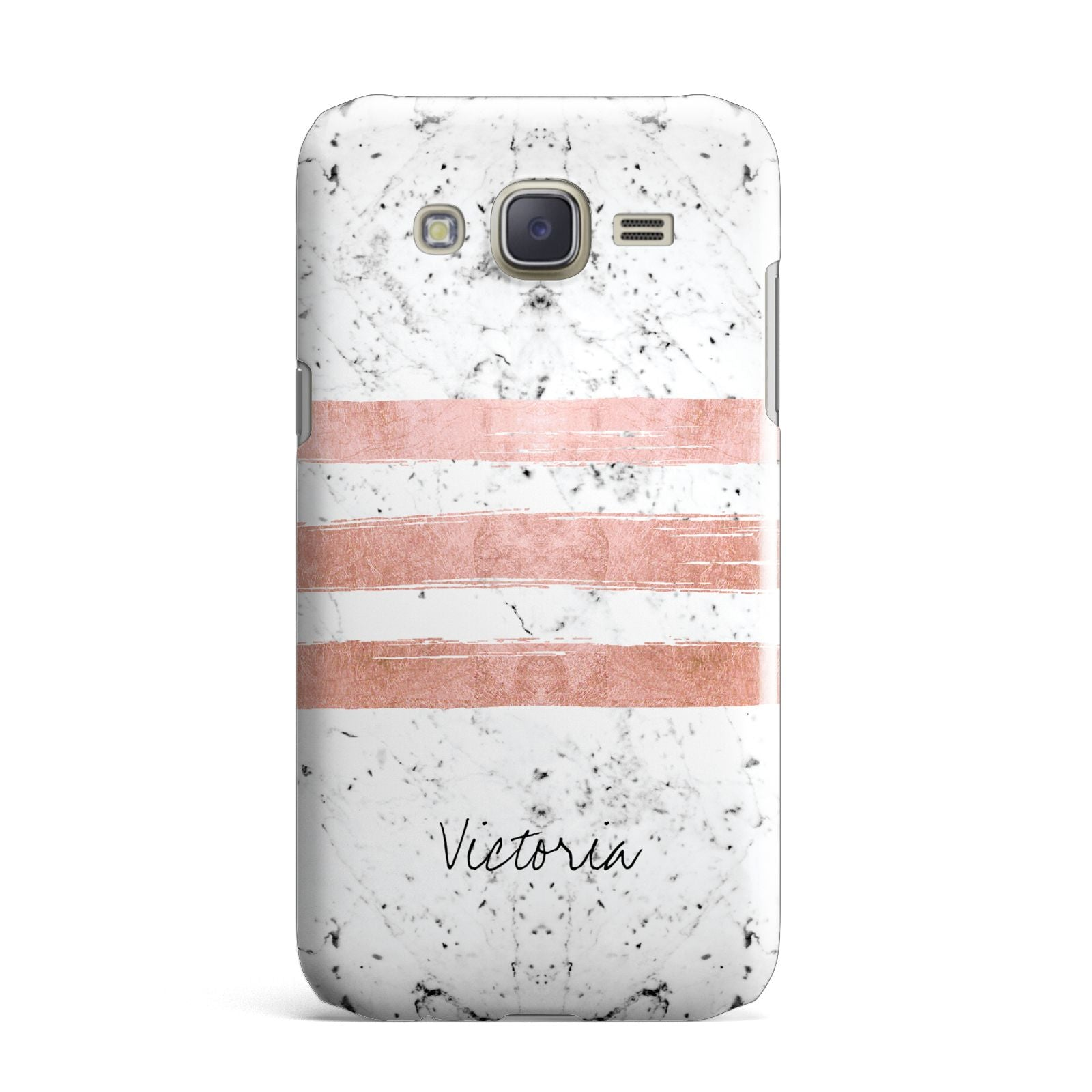 Personalised Rose Gold Brush Marble Initial Samsung Galaxy J7 Case
