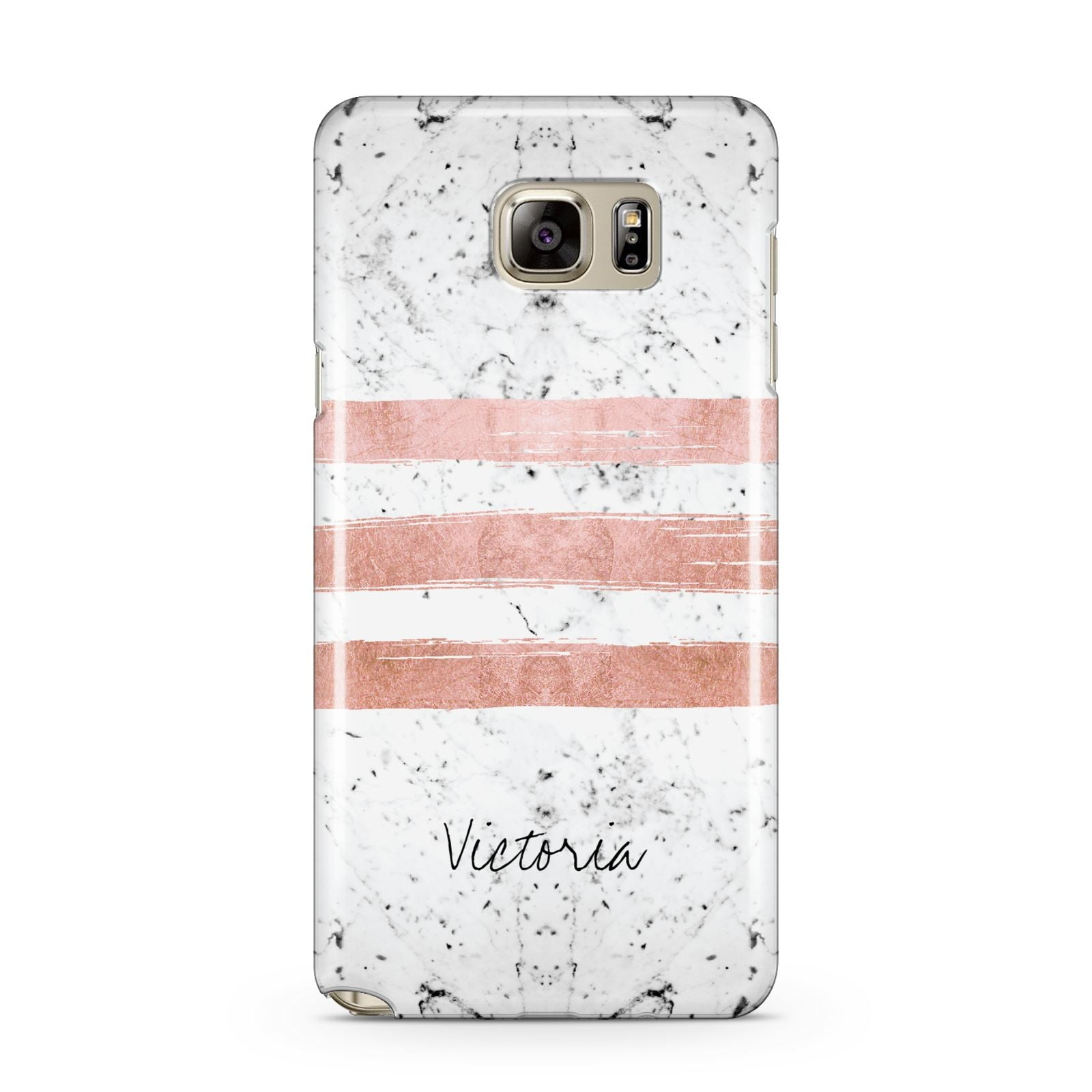 Personalised Rose Gold Brush Marble Initial Samsung Galaxy Note 5 Case