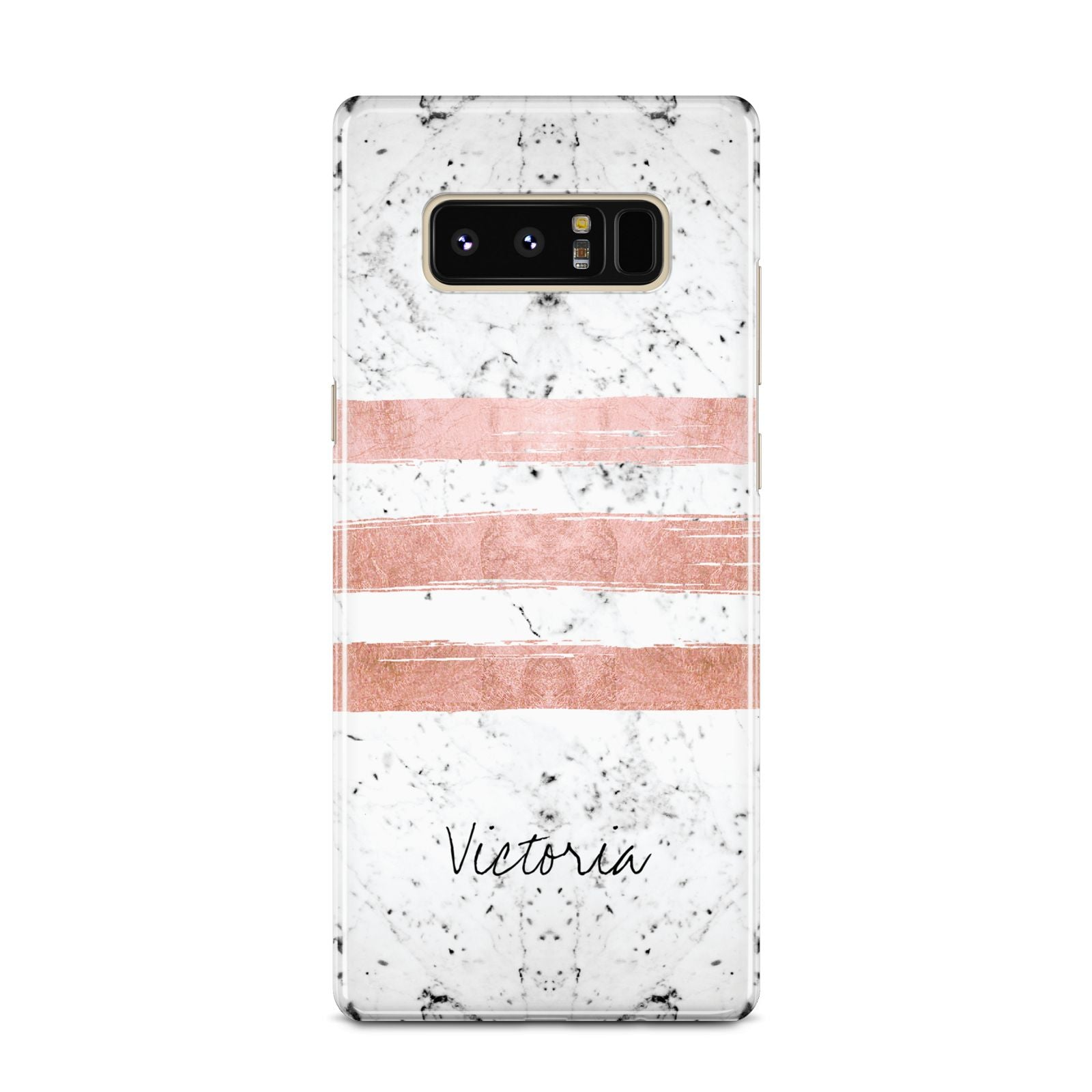 Personalised Rose Gold Brush Marble Initial Samsung Galaxy Note 8 Case