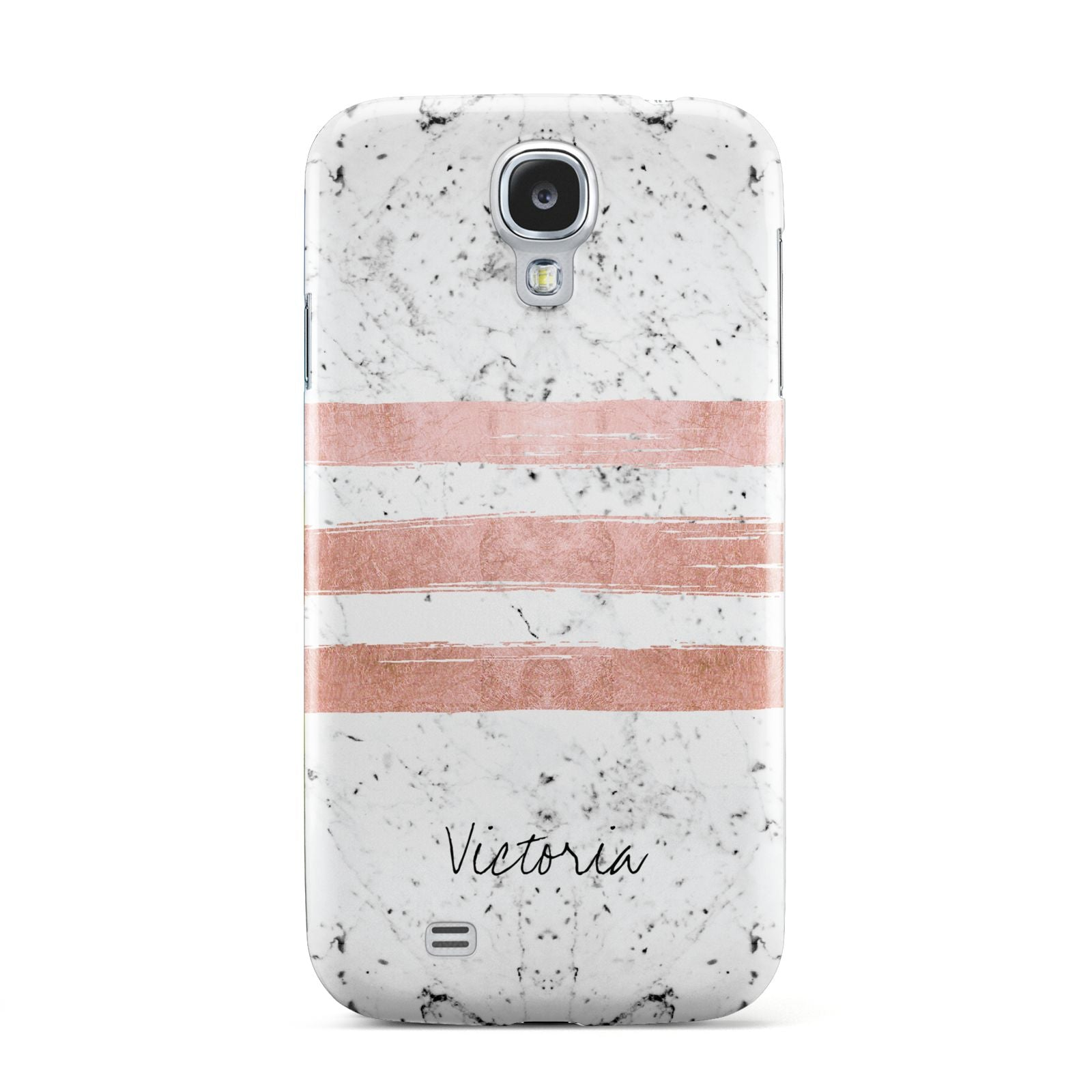 Personalised Rose Gold Brush Marble Initial Samsung Galaxy S4 Case
