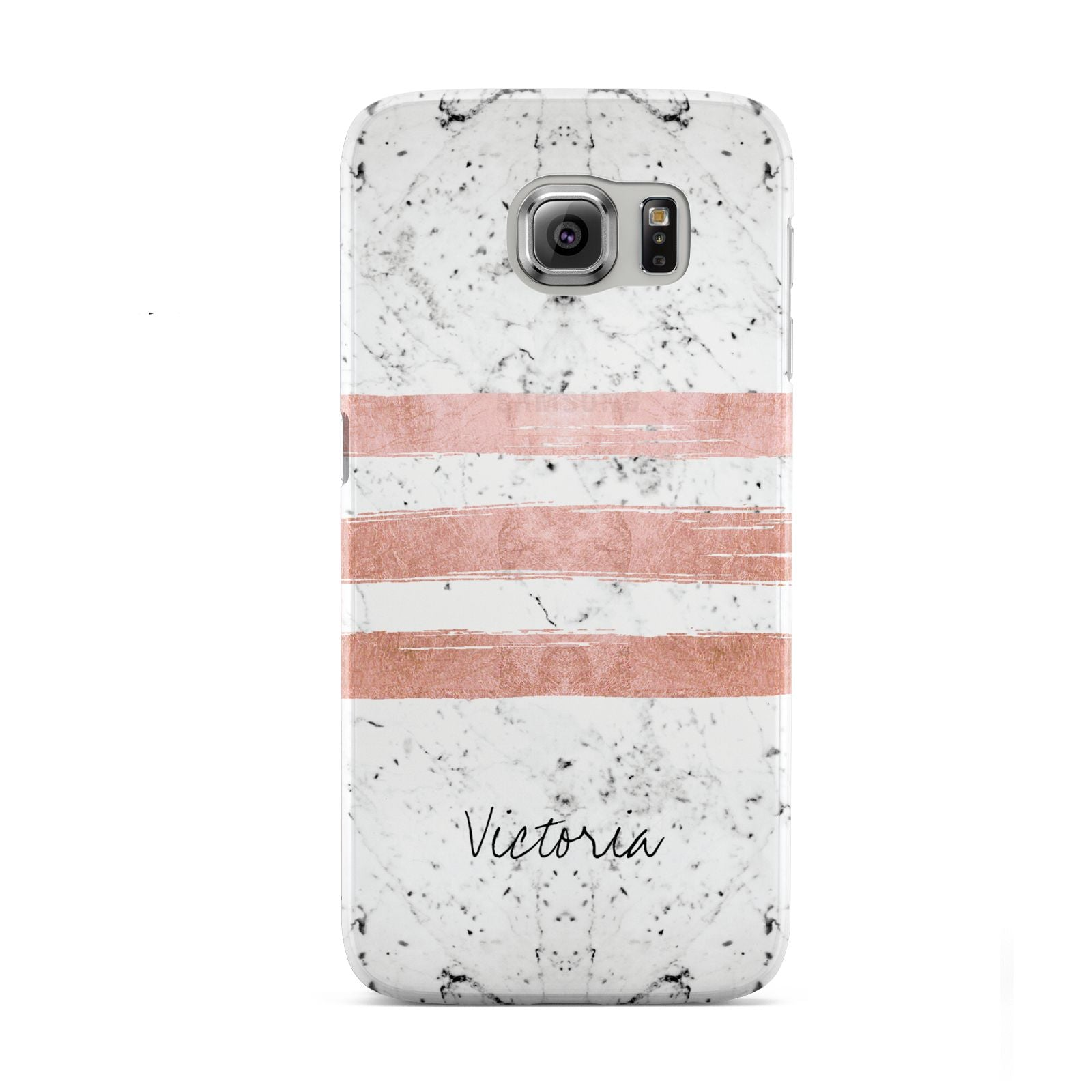 Personalised Rose Gold Brush Marble Initial Samsung Galaxy S6 Case
