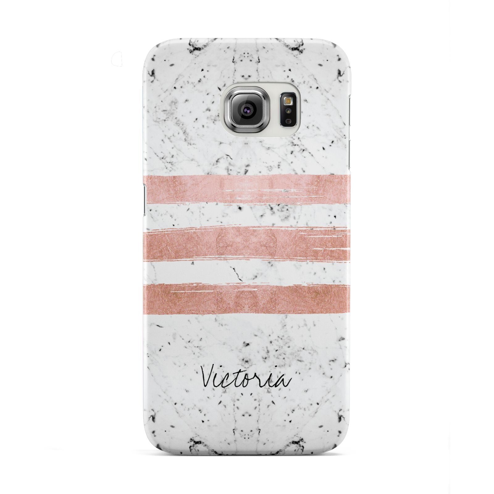 Personalised Rose Gold Brush Marble Initial Samsung Galaxy S6 Edge Case