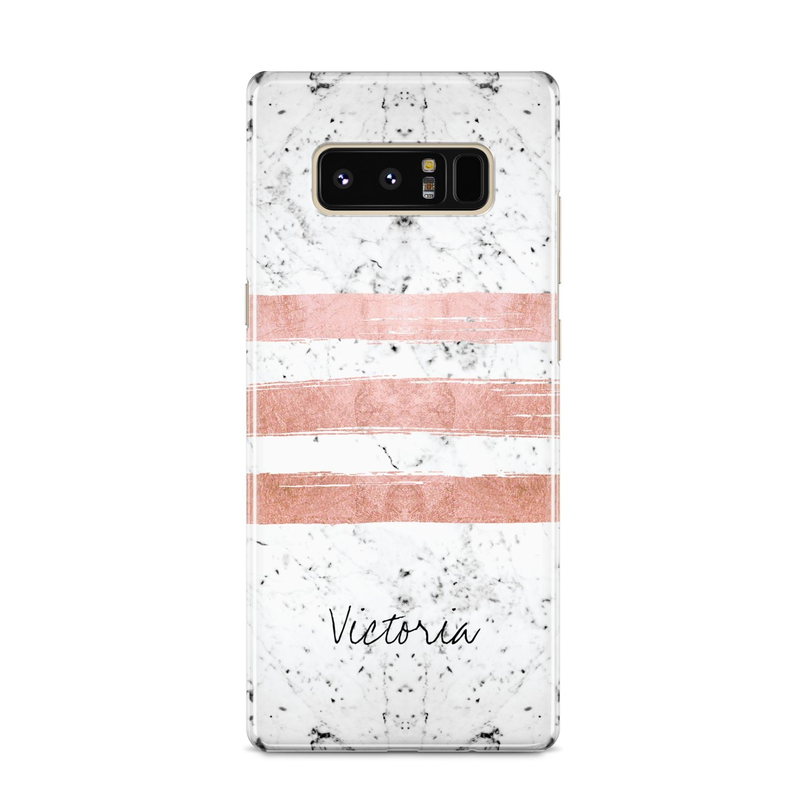 Personalised Rose Gold Brush Marble Initial Samsung Galaxy S8 Case