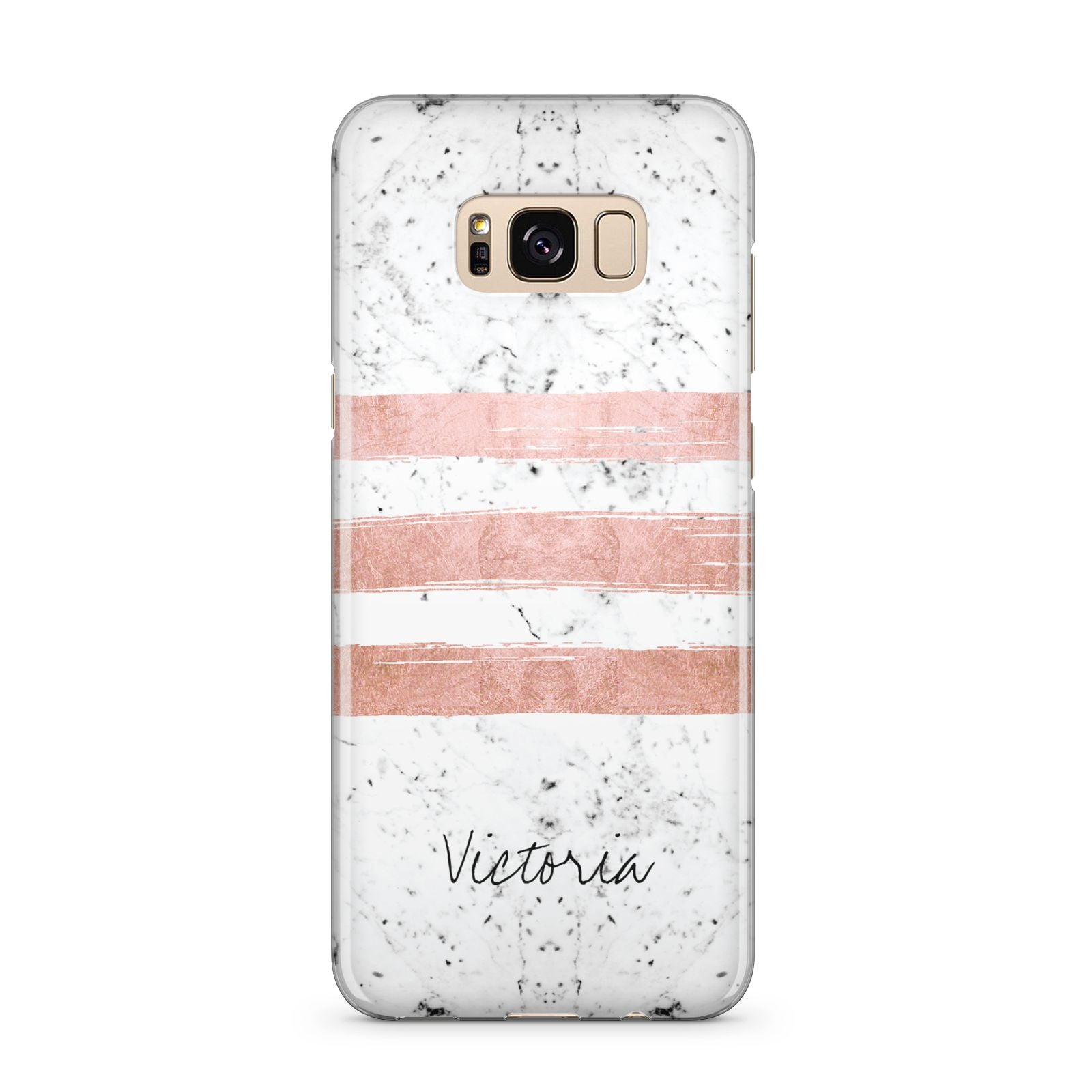 Personalised Rose Gold Brush Marble Initial Samsung Galaxy S8 Plus Case