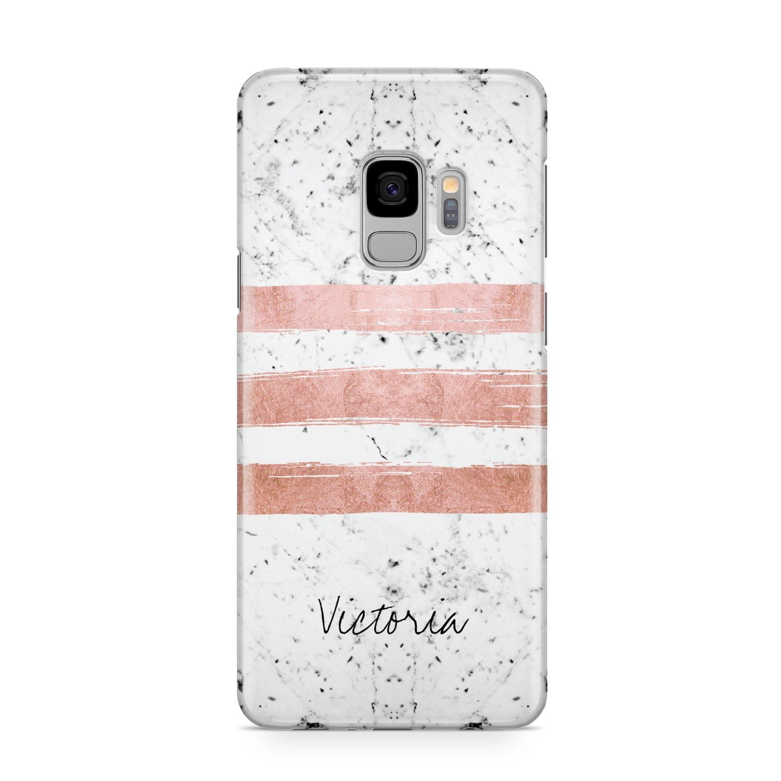 Personalised Rose Gold Brush Marble Initial Samsung Galaxy S9 Case