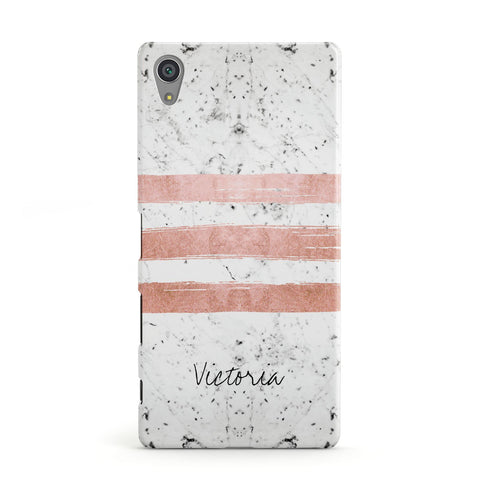 Personalised Rose Gold Brush Marble Initial Sony Xperia Case