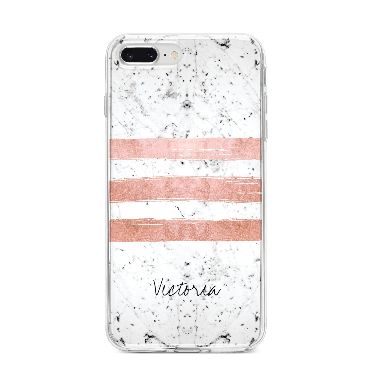 Personalised Rose Gold Brush Marble Initial iPhone 8 Plus Bumper Case on Silver iPhone