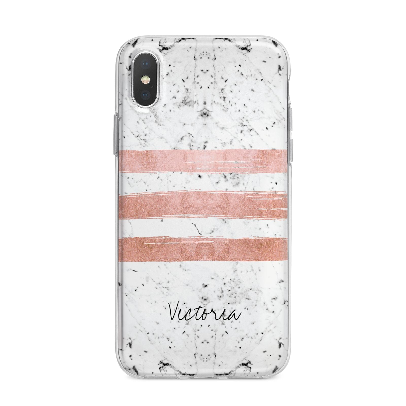 Personalised Rose Gold Brush Marble Initial iPhone X Bumper Case on Silver iPhone Alternative Image 1