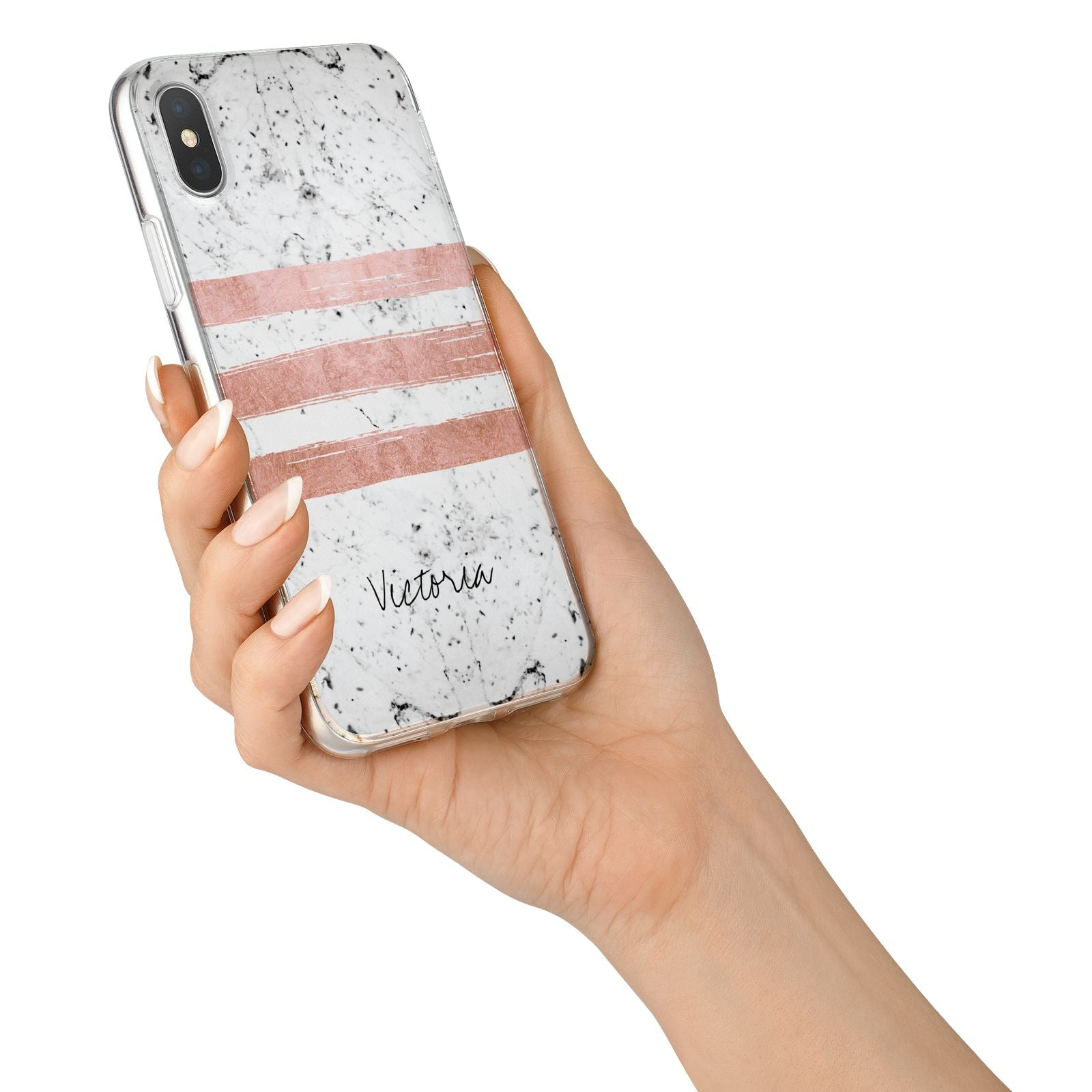 Personalised Rose Gold Brush Marble Initial iPhone X Bumper Case on Silver iPhone Alternative Image 2