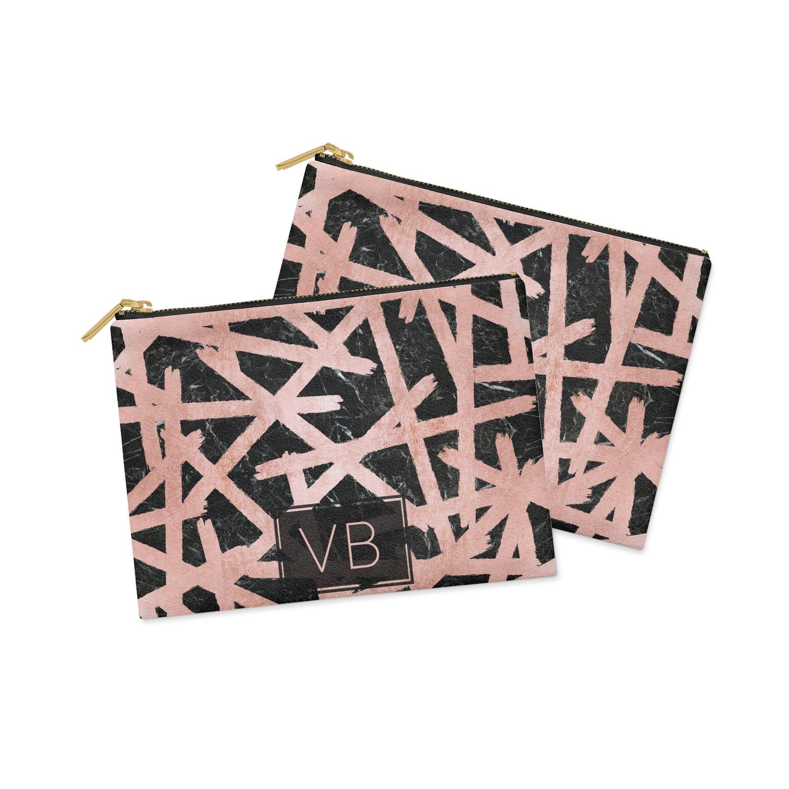 Personalised Rose Gold Effect Clutch Bag Zipper Pouch Alternative View