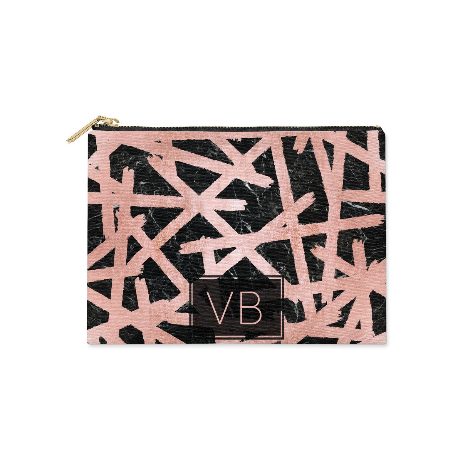 Personalised Rose Gold Effect Clutch Bag Zipper Pouch