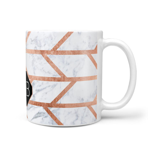 Personalised Rose Gold Faux Marble Initials Mug