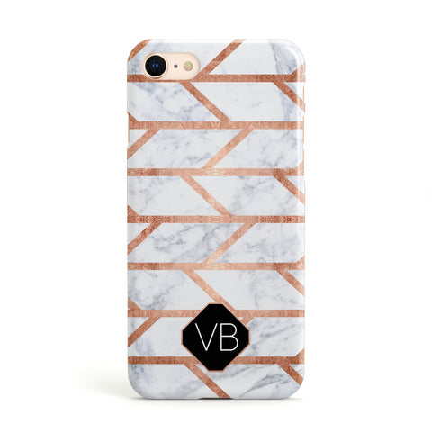 Personalised Rose Gold Faux Marble Initials Apple iPhone Case
