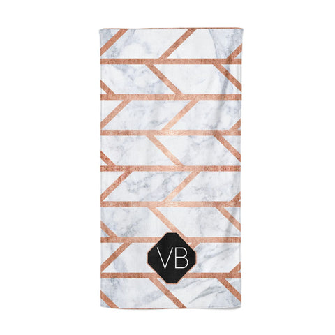 Personalised Rose Gold Faux Marble Initials Beach Towel