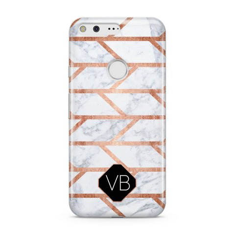 Personalised Rose Gold Faux Marble Initials Google Case