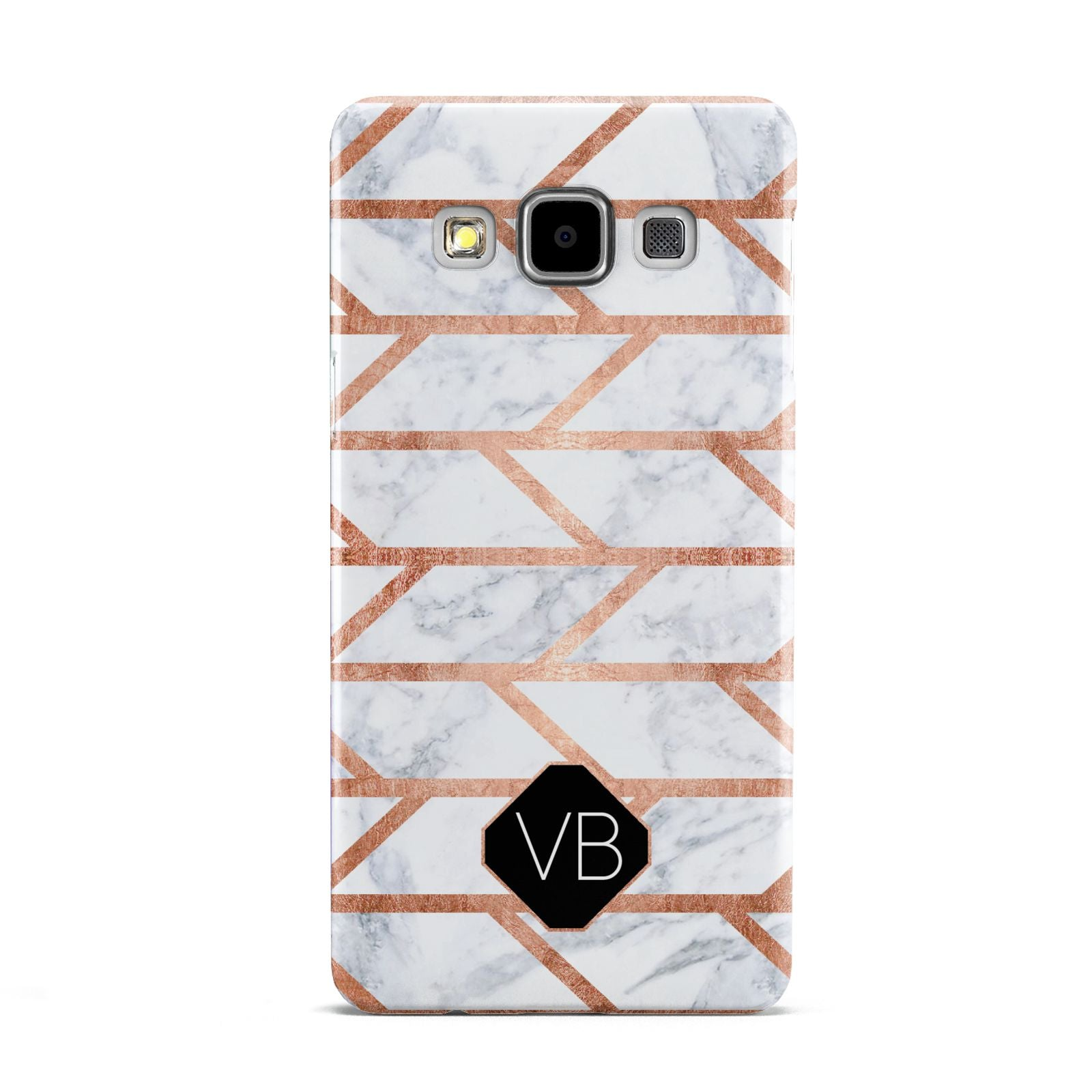 Personalised Rose Gold Faux Marble Initials Samsung Galaxy A5 Case