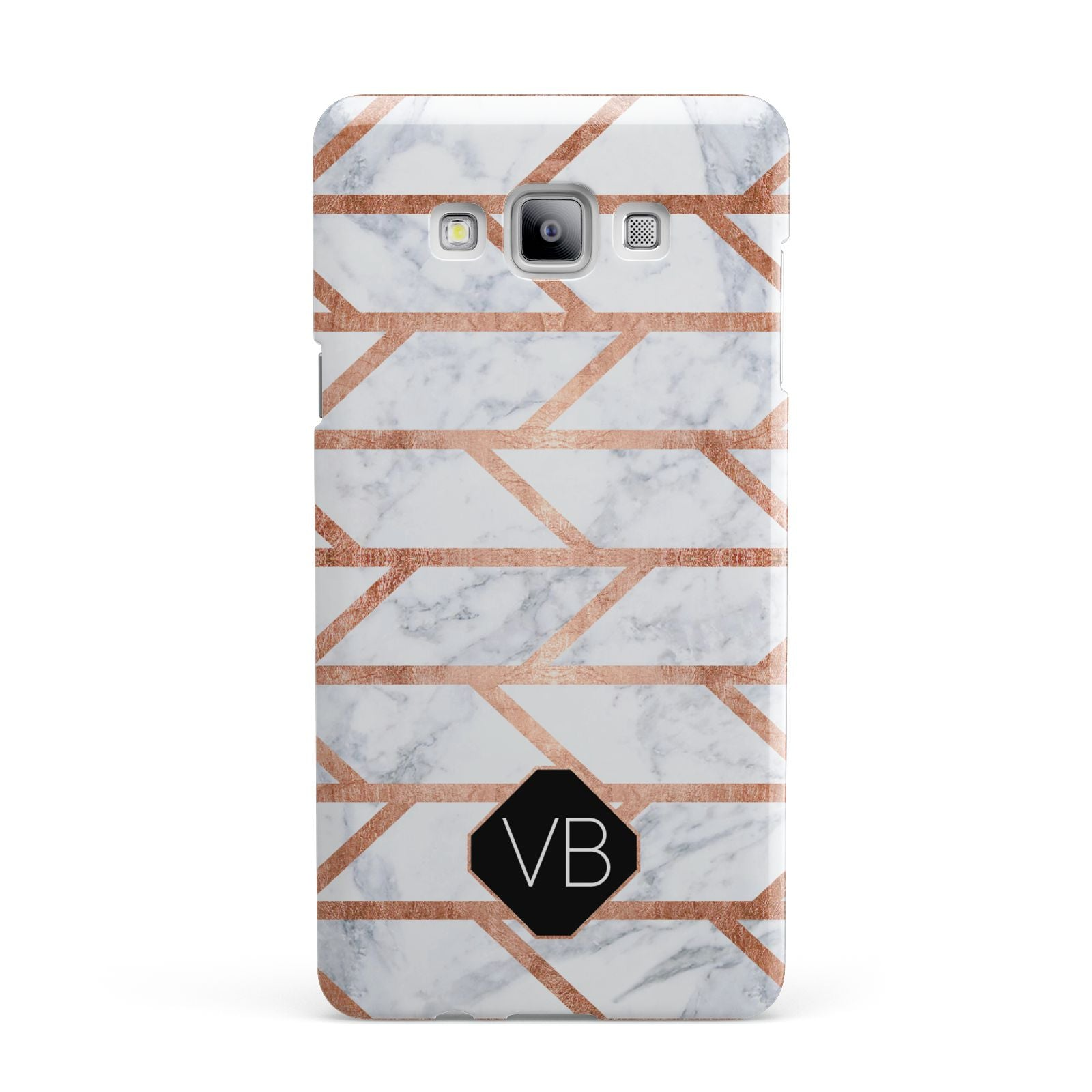 Personalised Rose Gold Faux Marble Initials Samsung Galaxy A7 2015 Case