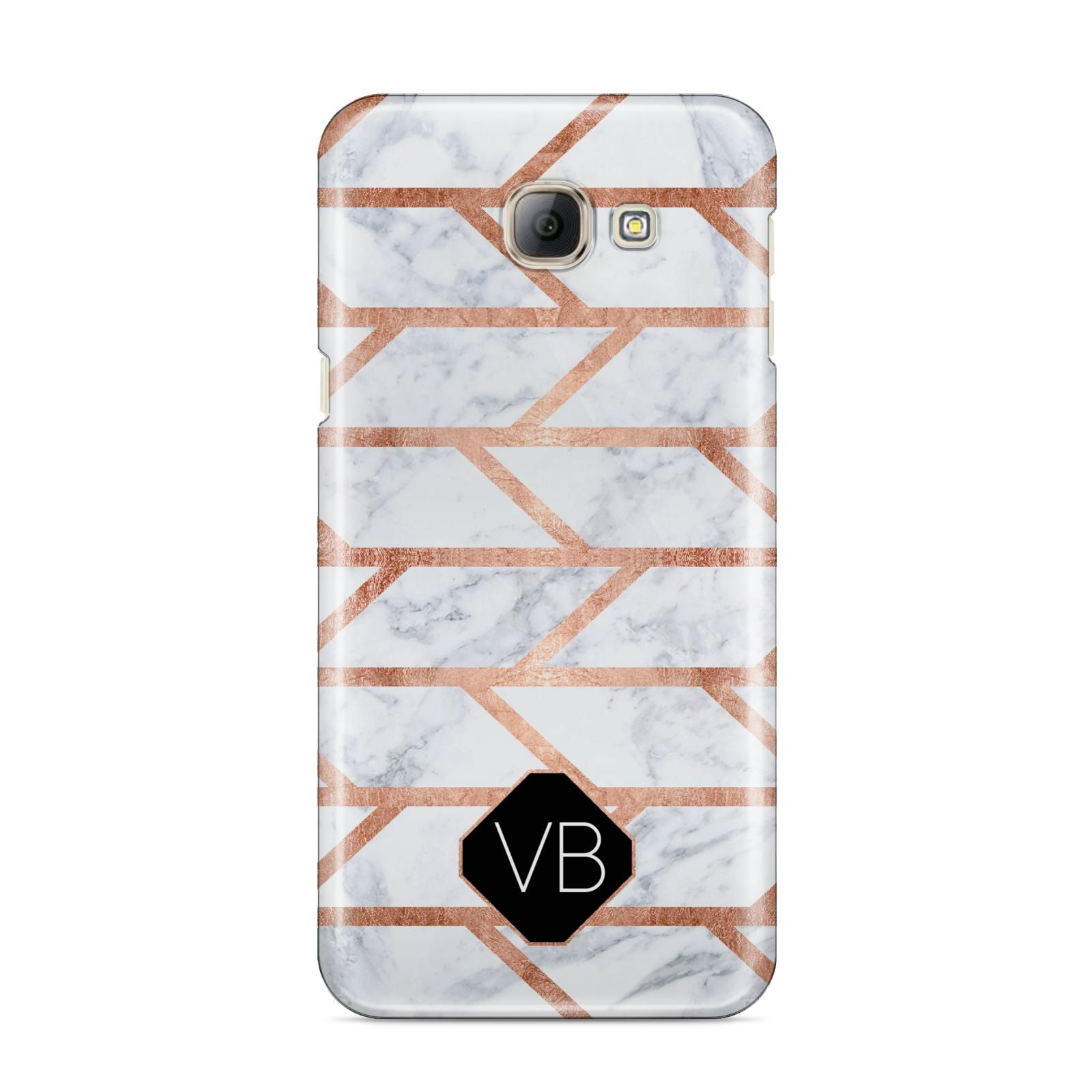 Personalised Rose Gold Faux Marble Initials Samsung Galaxy A8 2016 Case