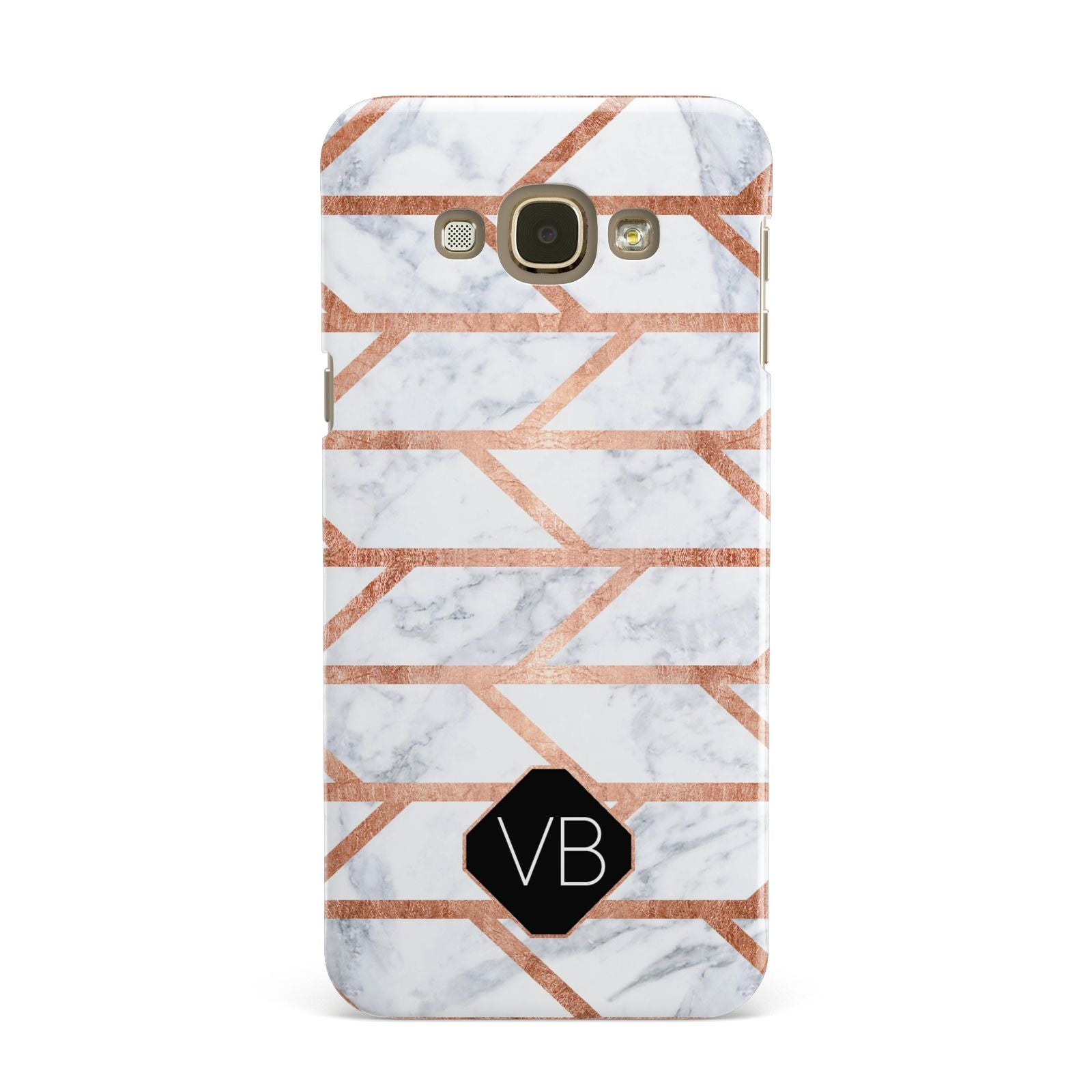 Personalised Rose Gold Faux Marble Initials Samsung Galaxy A8 Case