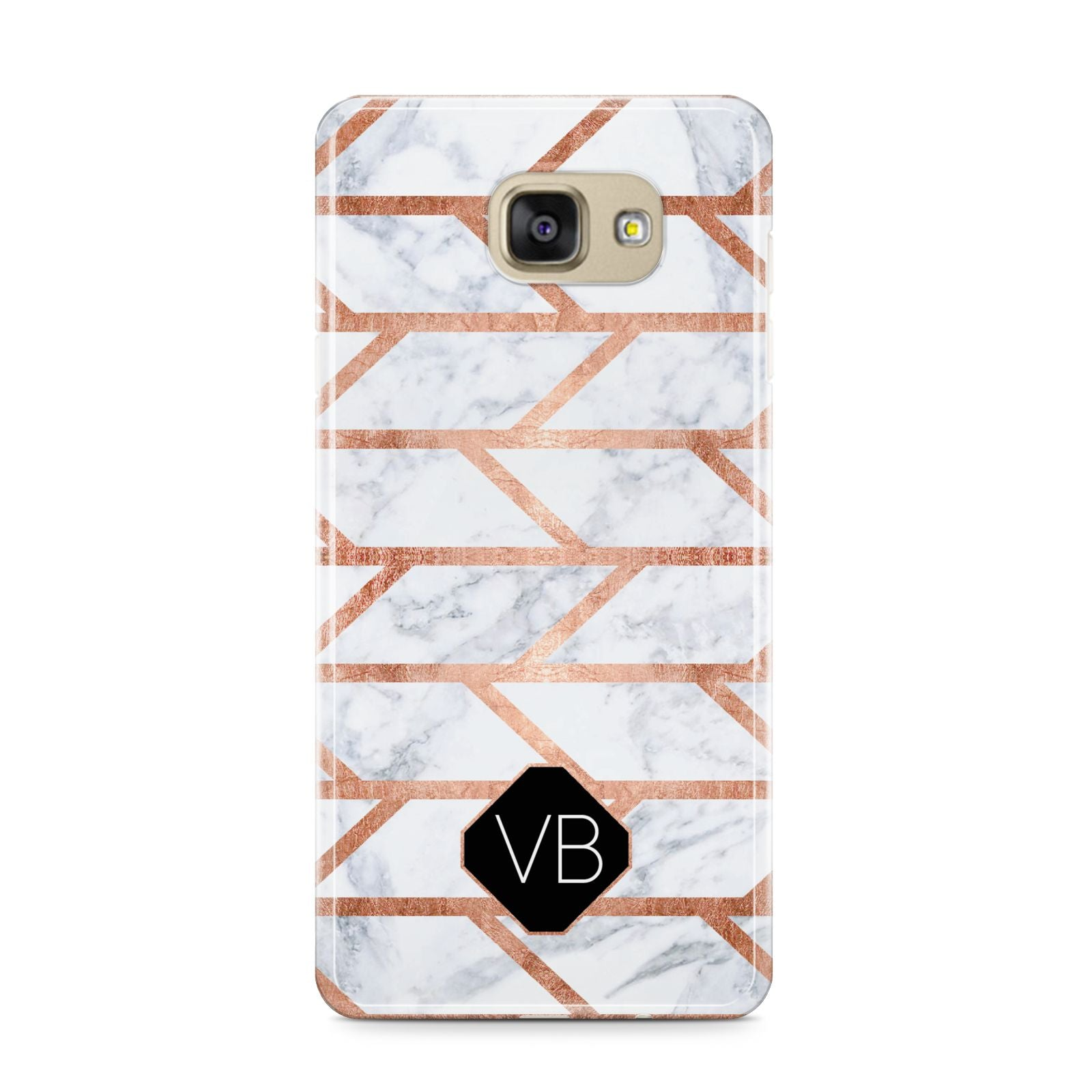 Personalised Rose Gold Faux Marble Initials Samsung Galaxy A9 2016 Case on gold phone