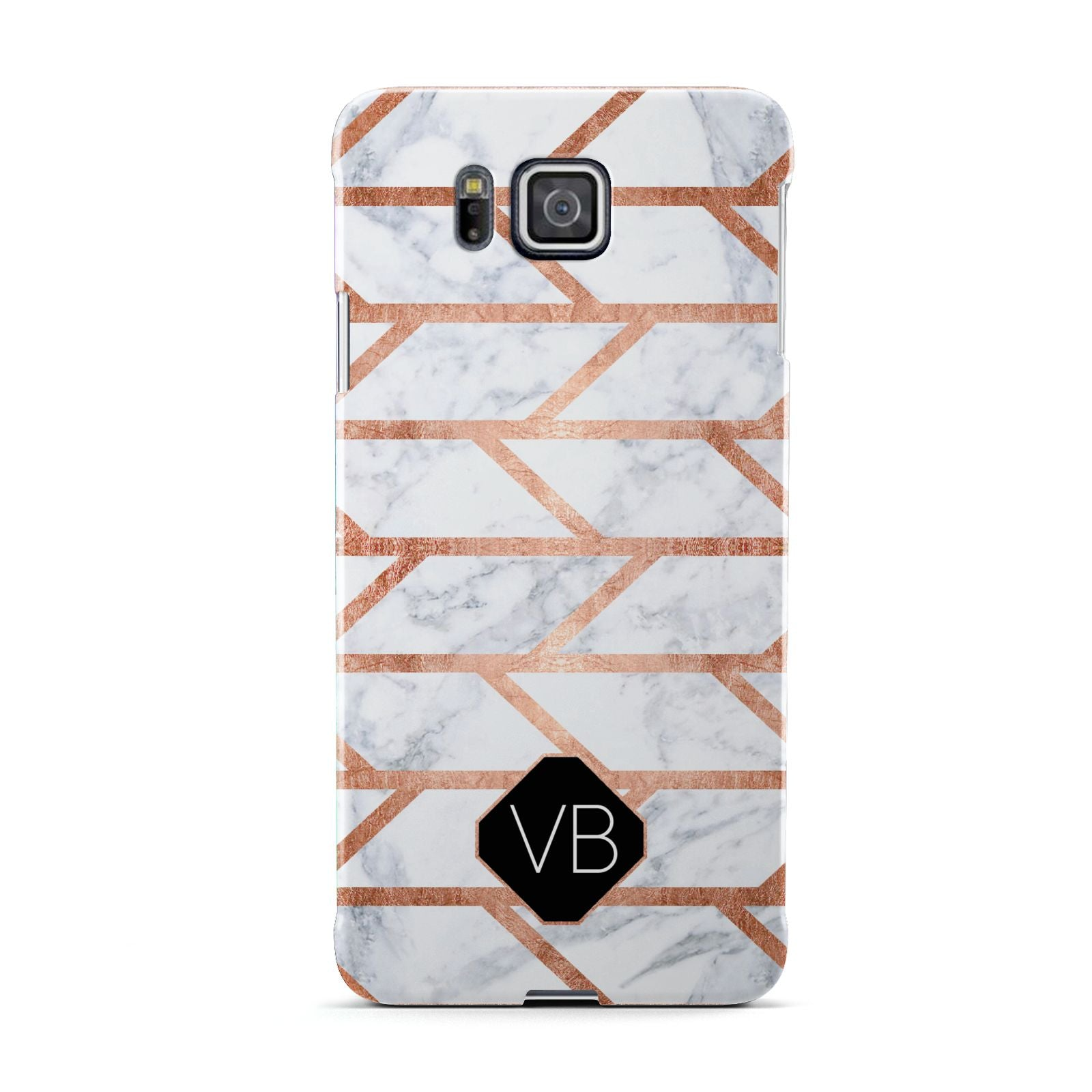 Personalised Rose Gold Faux Marble Initials Samsung Galaxy Alpha Case
