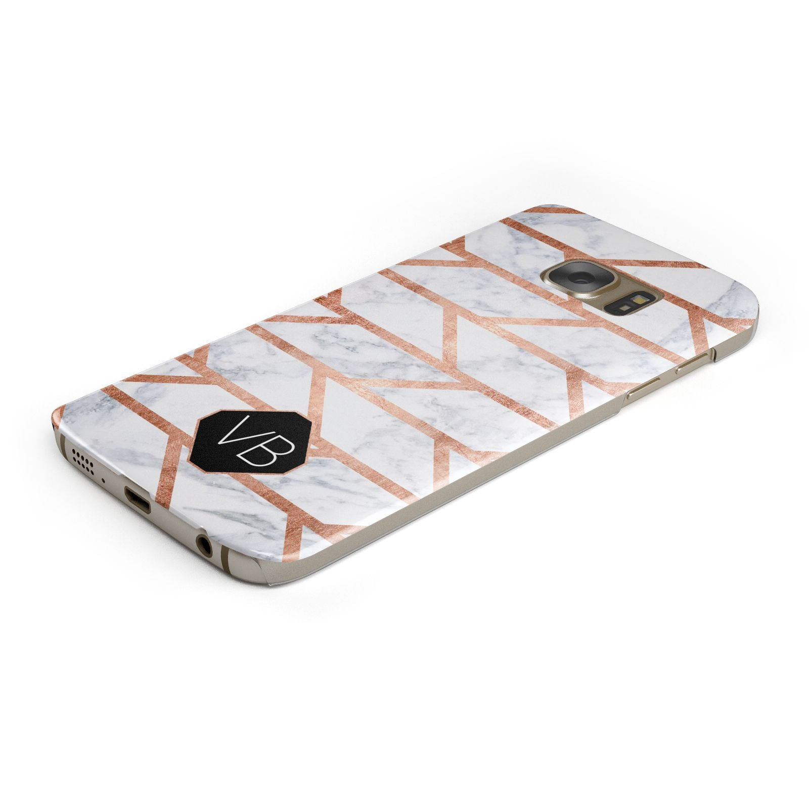 Personalised Rose Gold Faux Marble Initials Samsung Galaxy Case Bottom Cutout