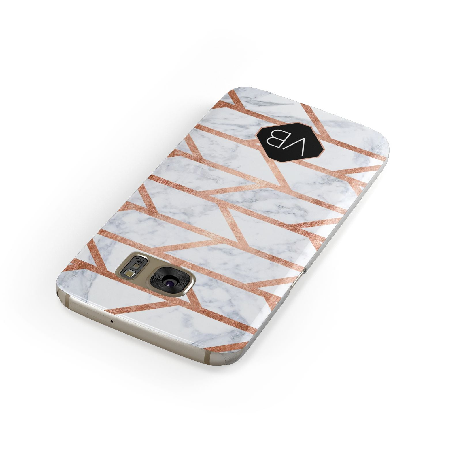 Personalised Rose Gold Faux Marble Initials Samsung Galaxy Case Front Close Up