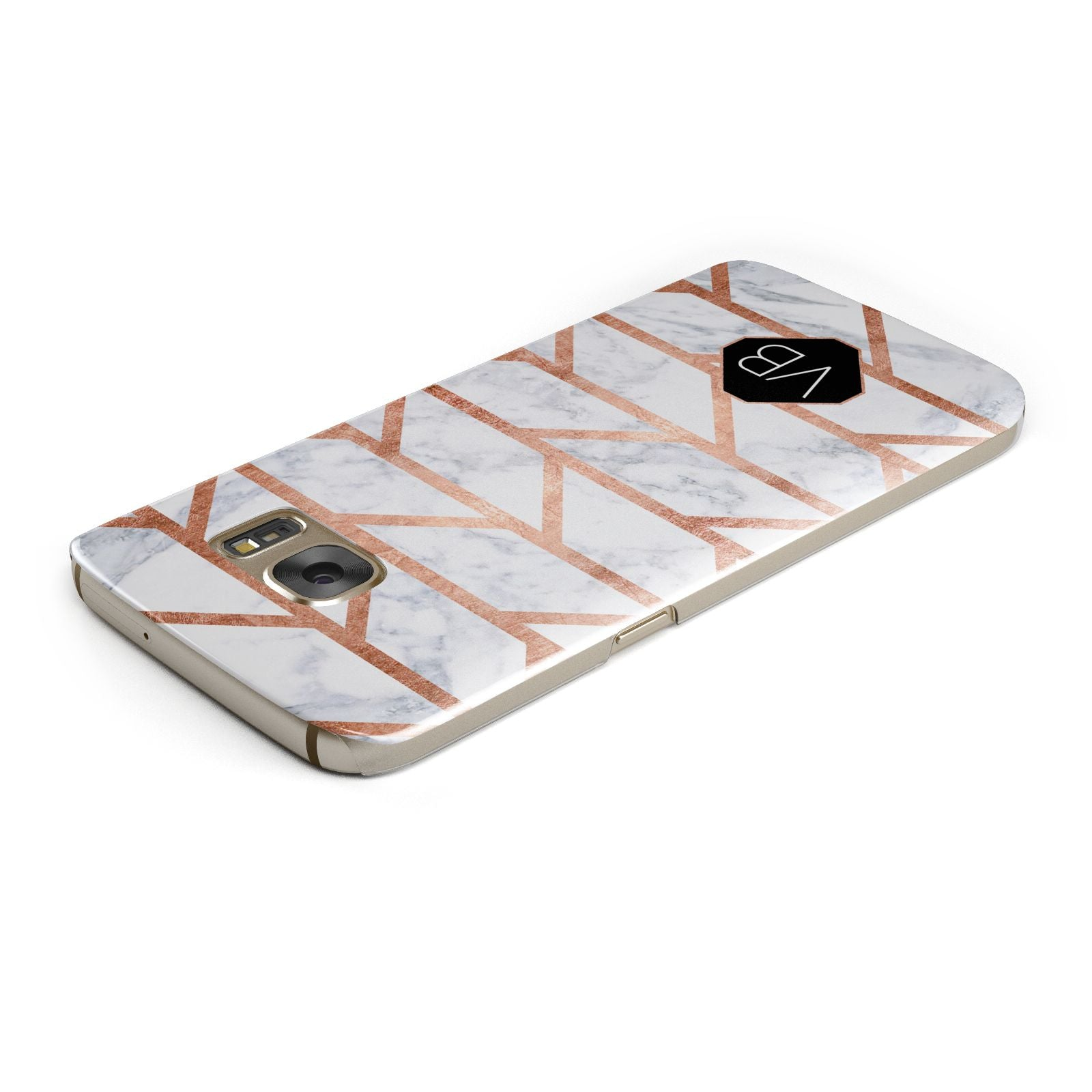 Personalised Rose Gold Faux Marble Initials Samsung Galaxy Case Top Cutout