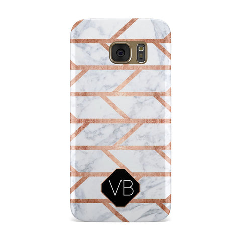 Personalised Rose Gold Faux Marble Initials Samsung Galaxy Case