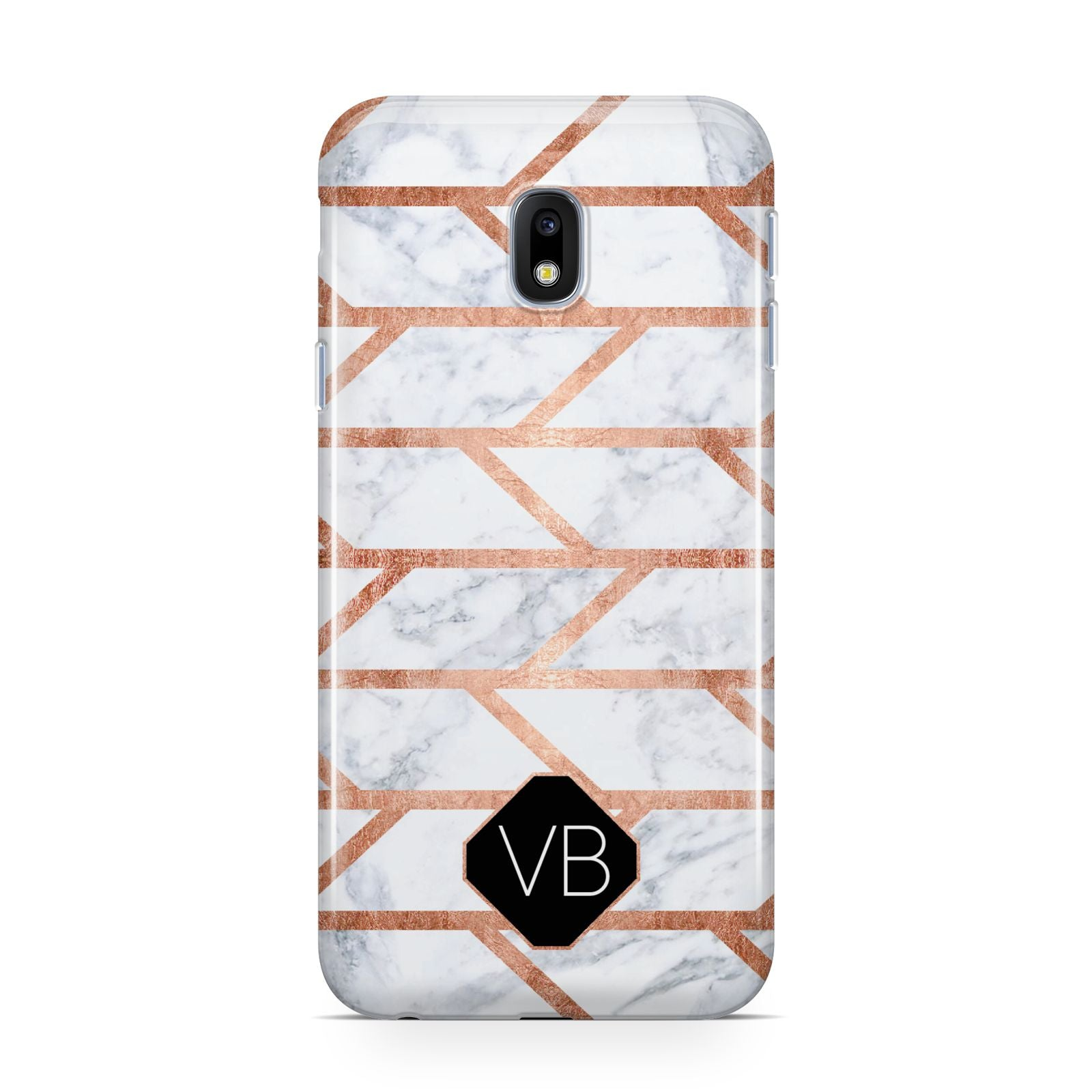 Personalised Rose Gold Faux Marble Initials Samsung Galaxy J3 2017 Case