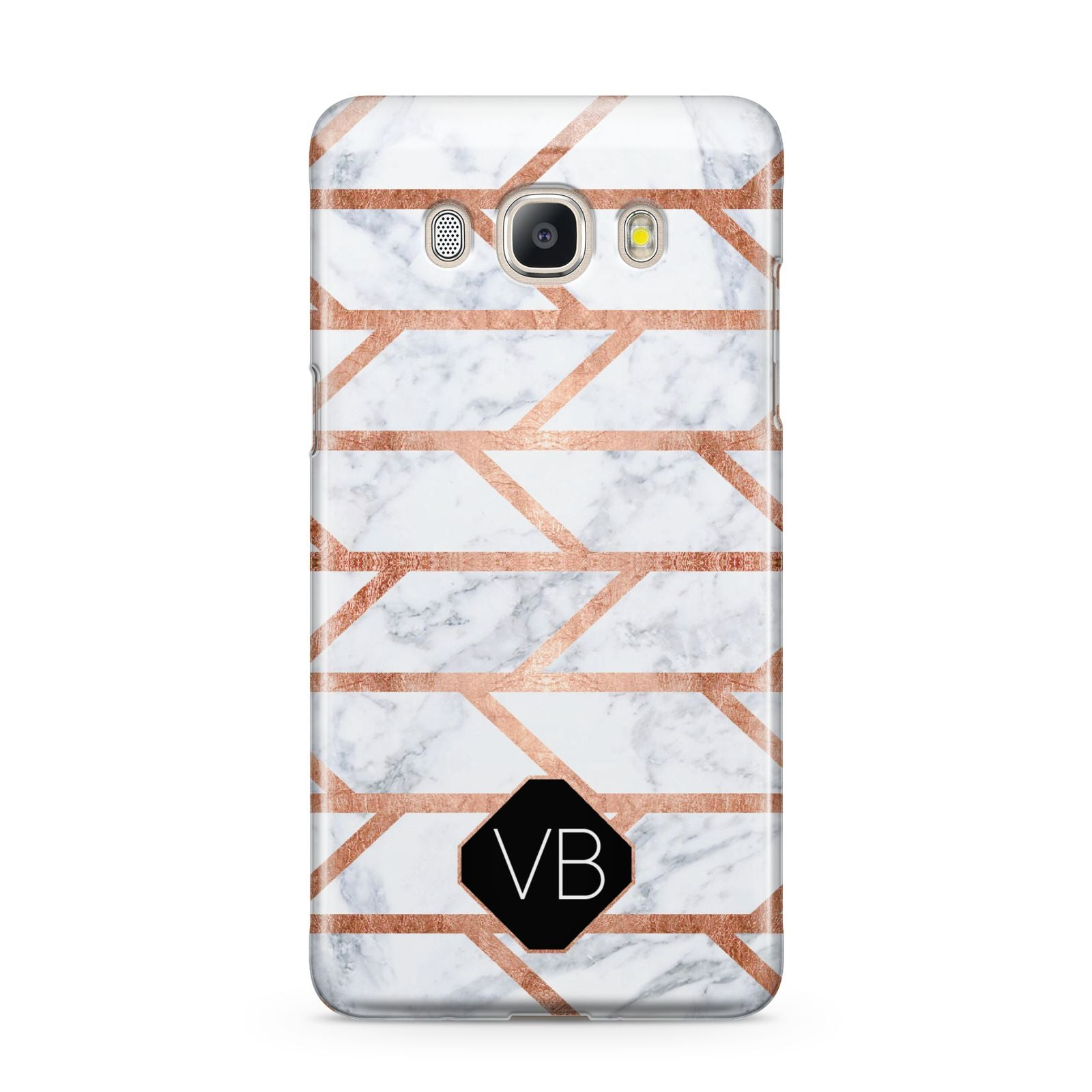 Personalised Rose Gold Faux Marble Initials Samsung Galaxy J5 2016 Case