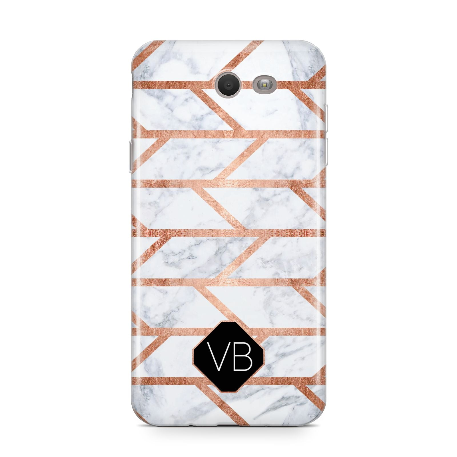 Personalised Rose Gold Faux Marble Initials Samsung Galaxy J7 2017 Case