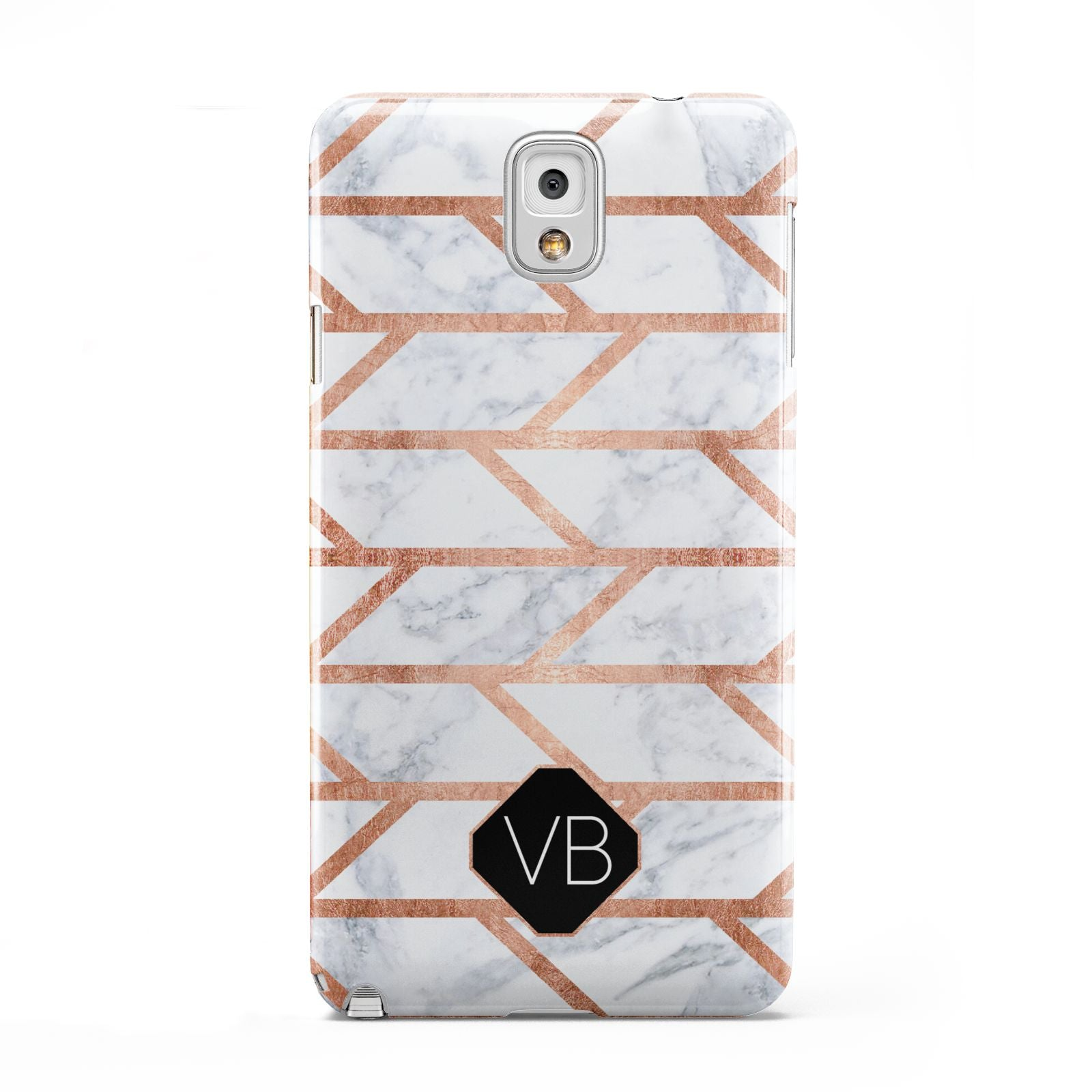 Personalised Rose Gold Faux Marble Initials Samsung Galaxy Note 3 Case