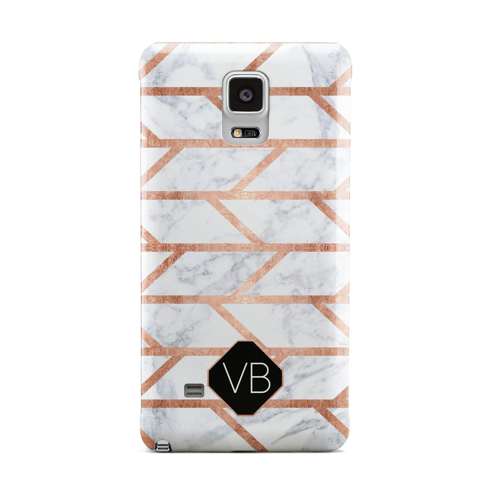 Personalised Rose Gold Faux Marble Initials Samsung Galaxy Note 4 Case