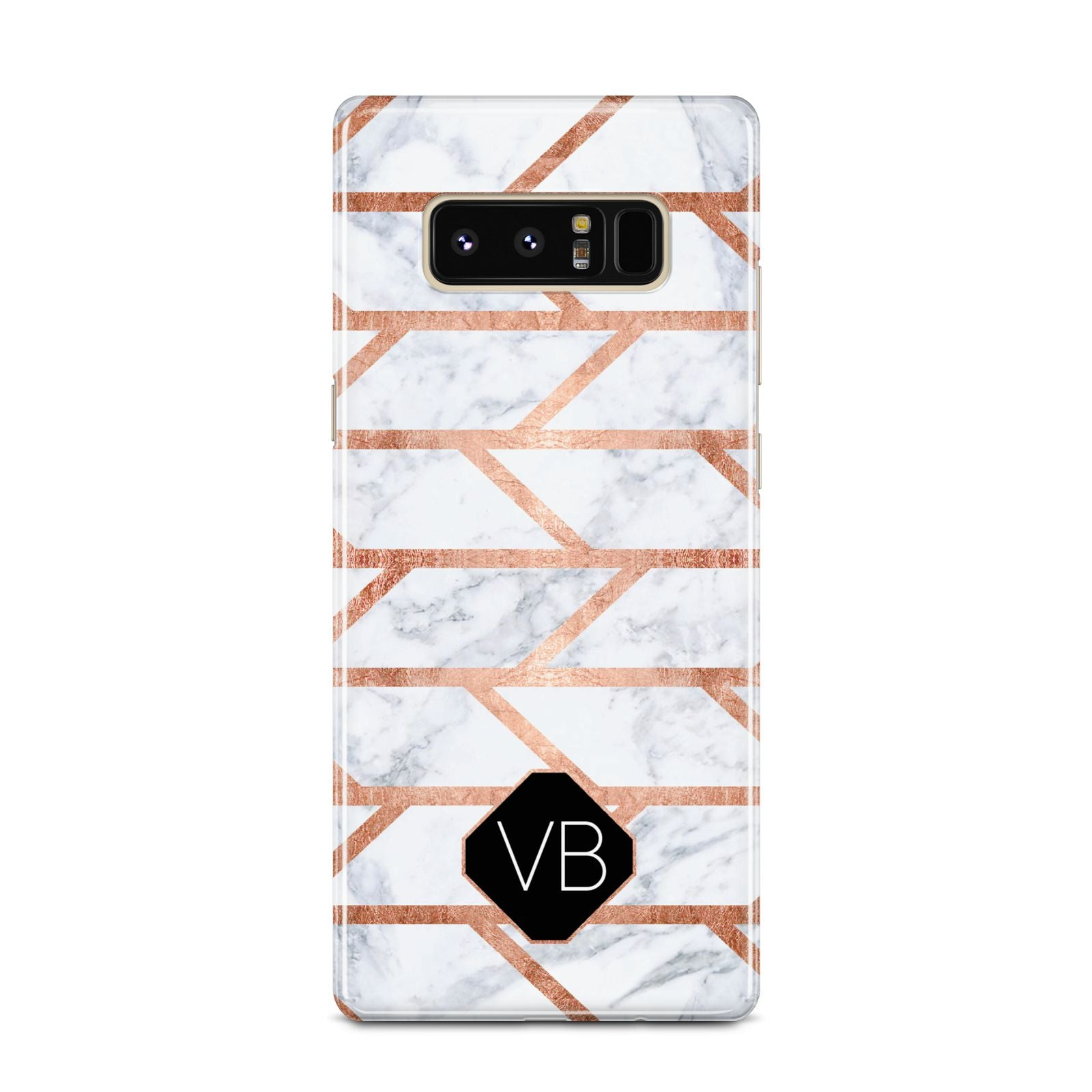 Personalised Rose Gold Faux Marble Initials Samsung Galaxy Note 8 Case