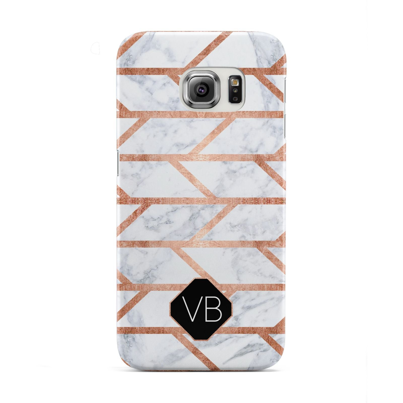 Personalised Rose Gold Faux Marble Initials Samsung Galaxy S6 Edge Case