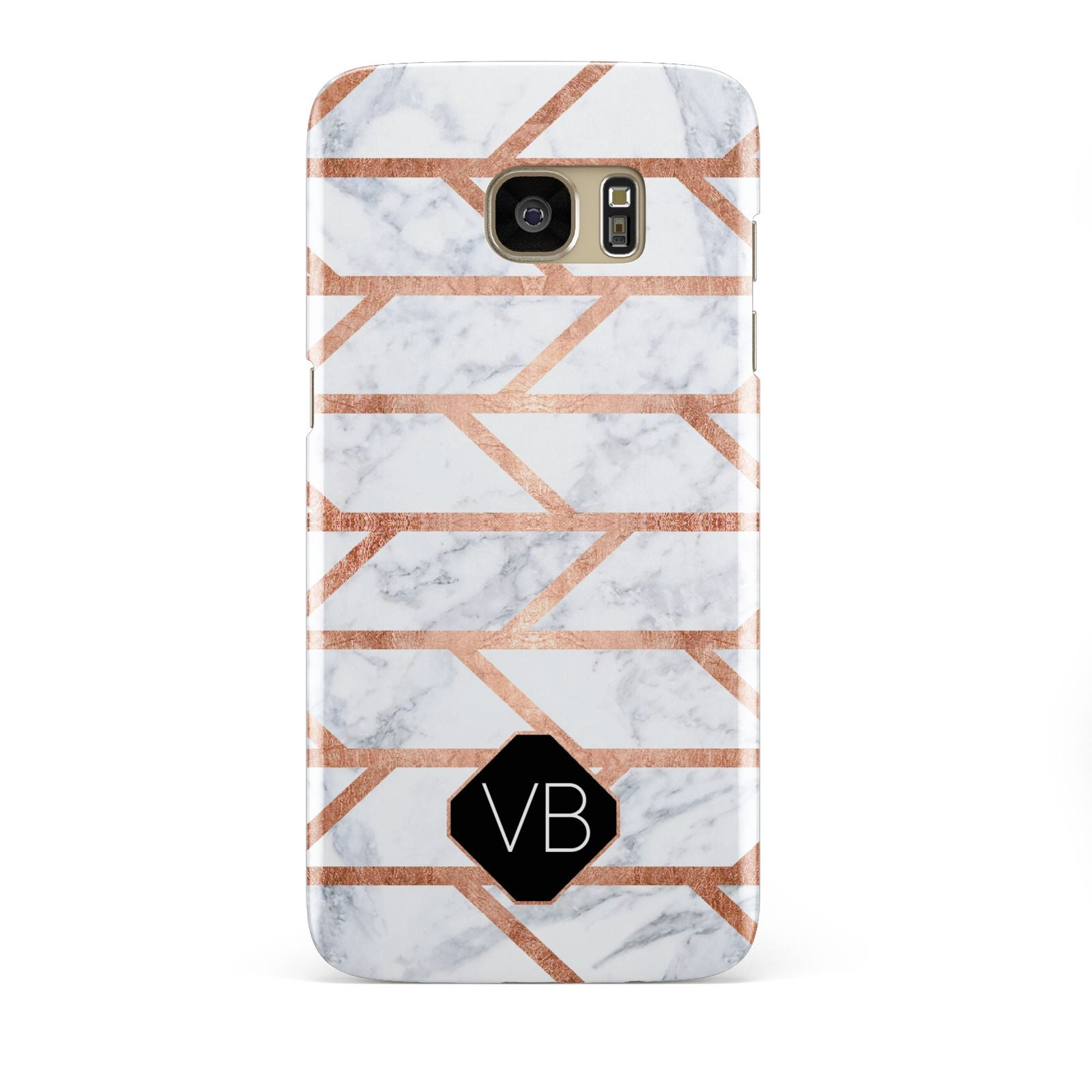 Personalised Rose Gold Faux Marble Initials Samsung Galaxy S7 Edge Case