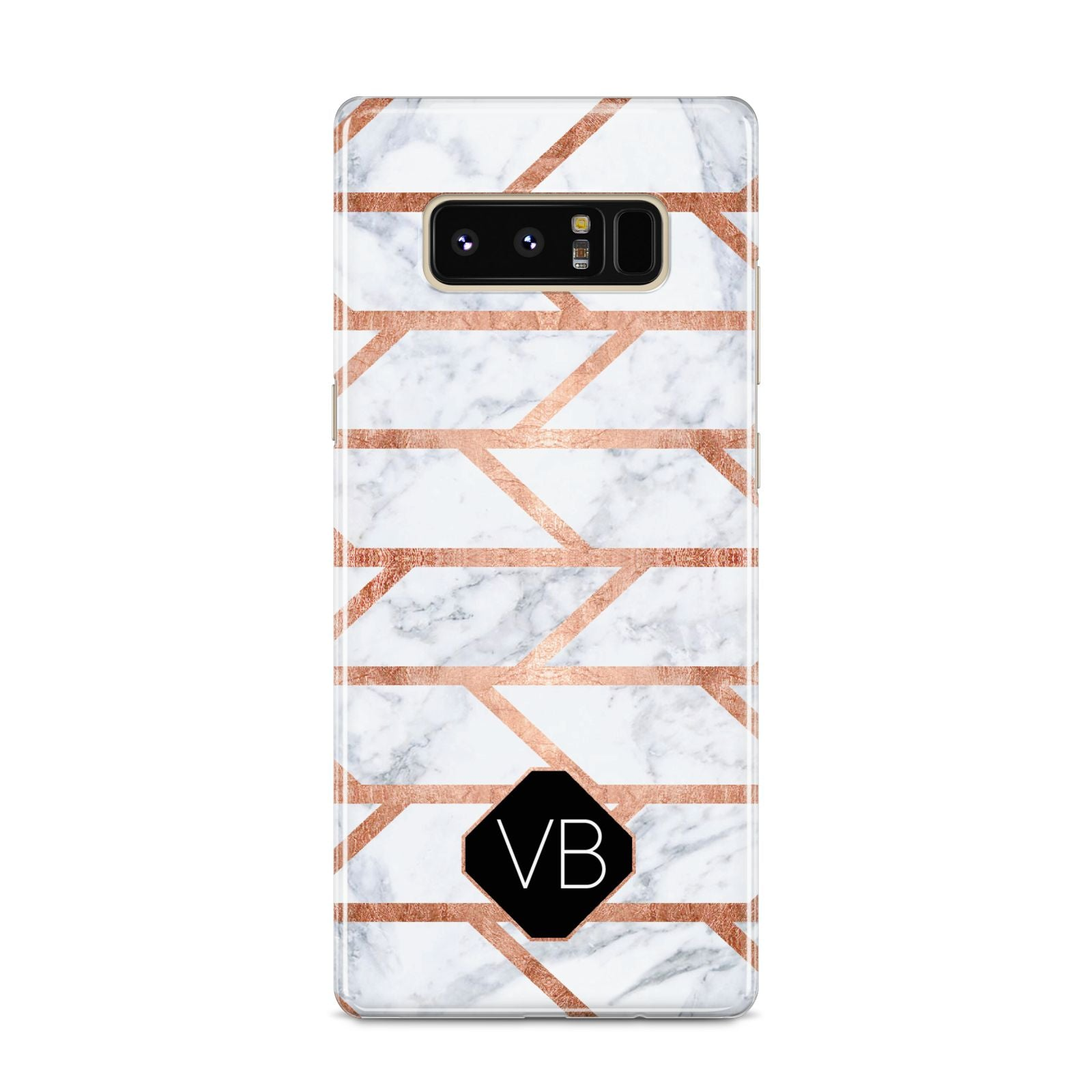 Personalised Rose Gold Faux Marble Initials Samsung Galaxy S8 Case