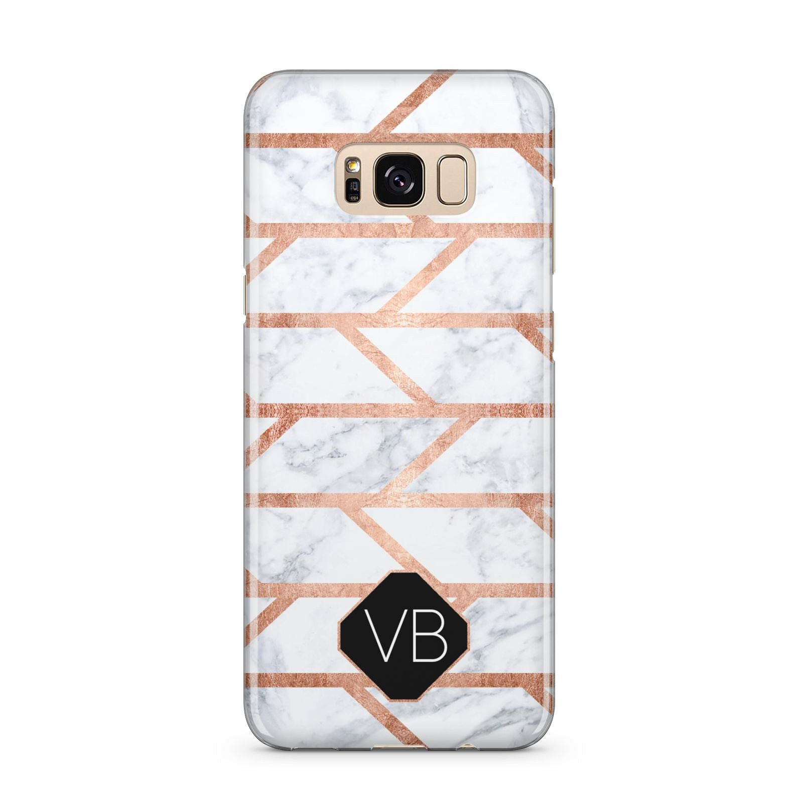 Personalised Rose Gold Faux Marble Initials Samsung Galaxy S8 Plus Case