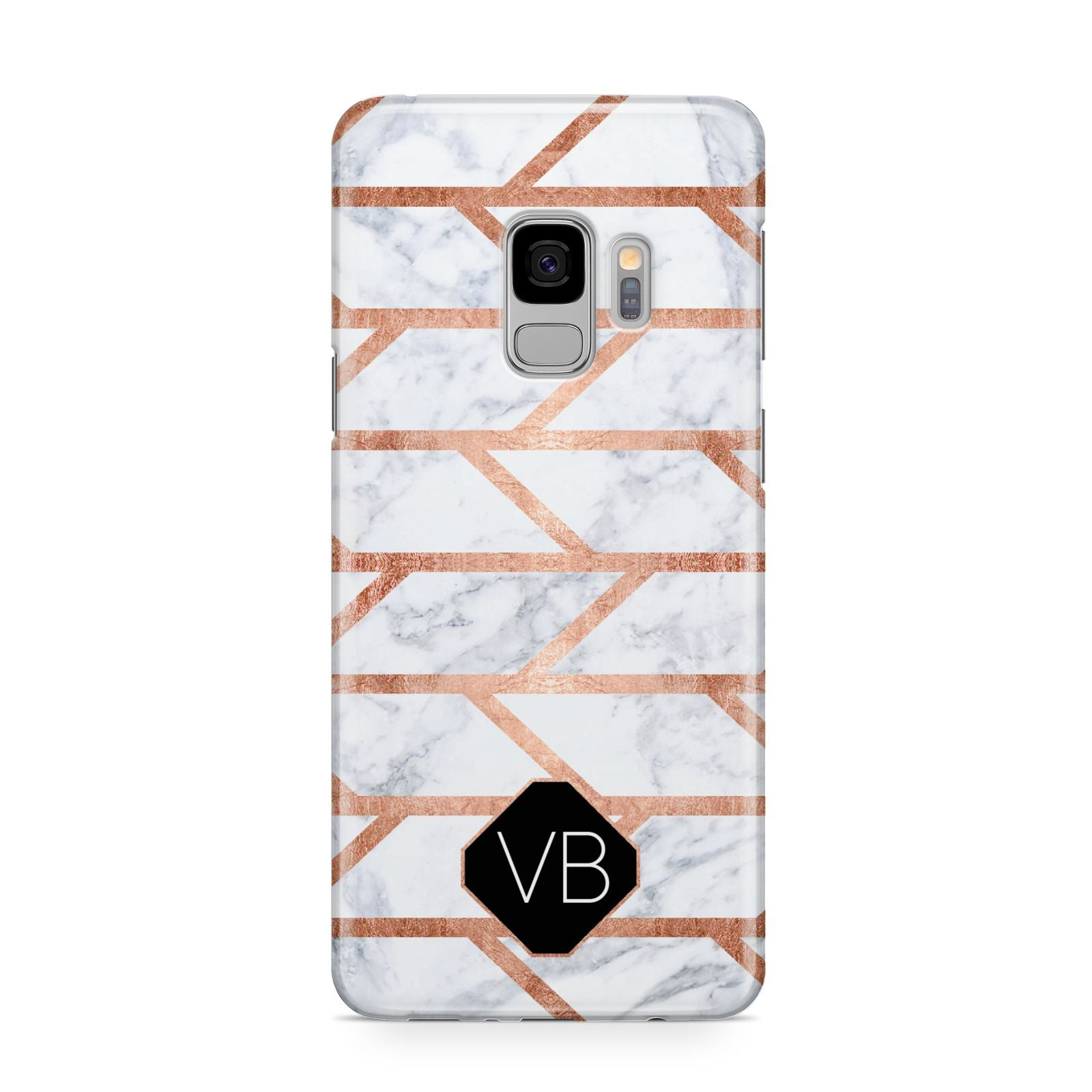 Personalised Rose Gold Faux Marble Initials Samsung Galaxy S9 Case