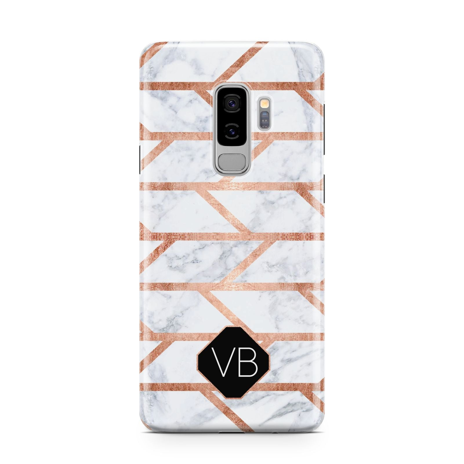 Personalised Rose Gold Faux Marble Initials Samsung Galaxy S9 Plus Case on Silver phone