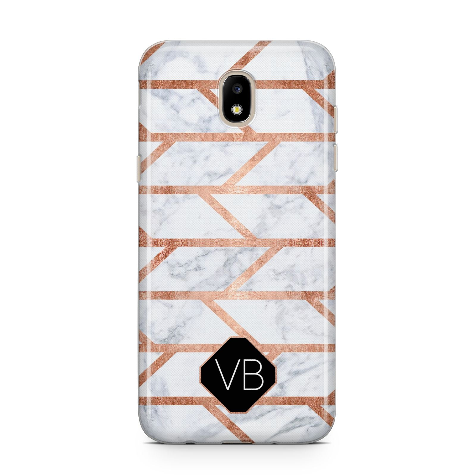 Personalised Rose Gold Faux Marble Initials Samsung J5 2017 Case