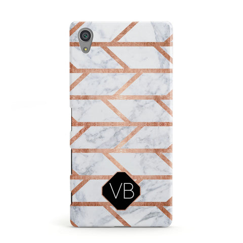 Personalised Rose Gold Faux Marble Initials Sony Xperia Case
