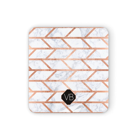 Personalised Rose Gold Faux Marble Initials Coasters set of 4