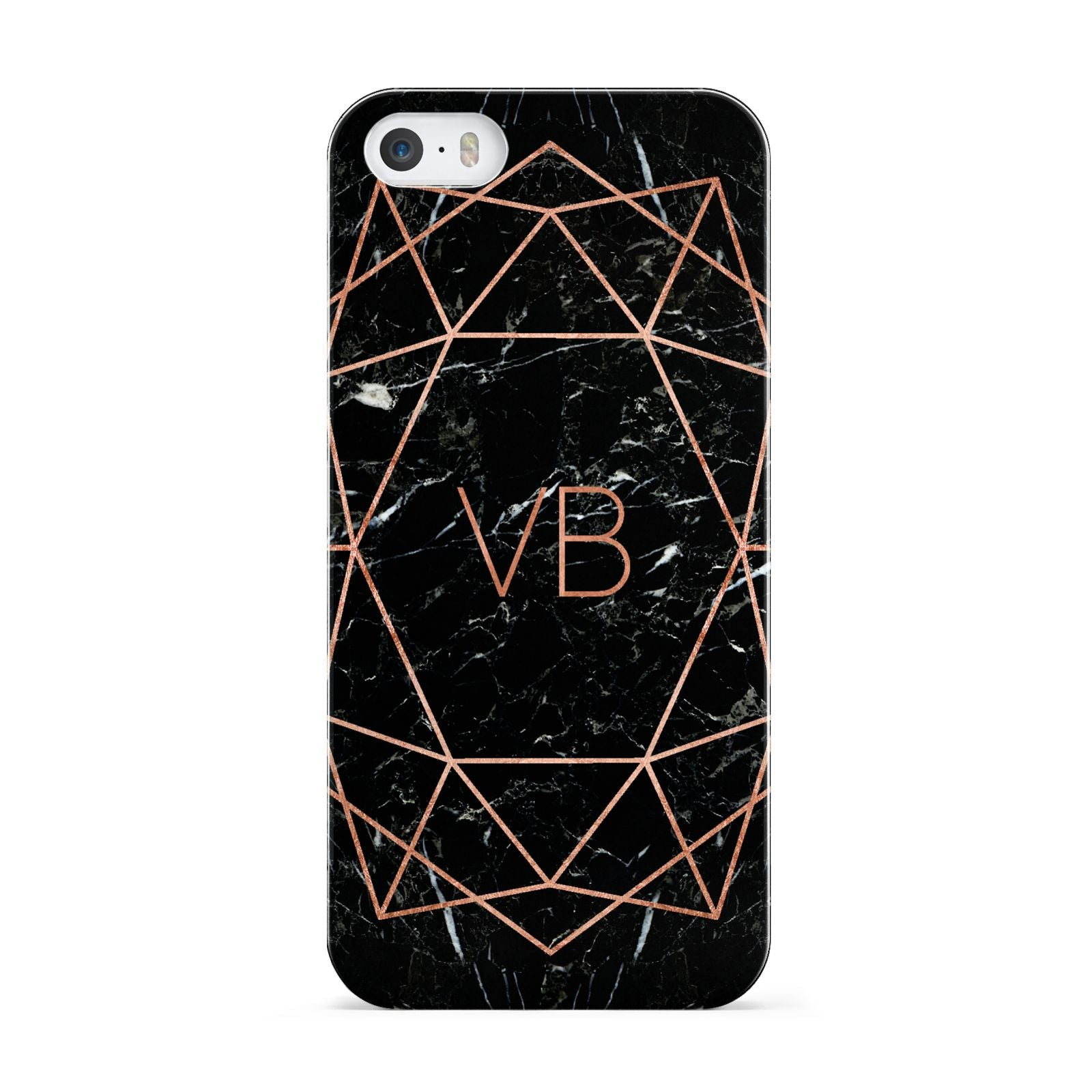 Personalised Rose Gold Geometric Initials Apple iPhone 5 Case