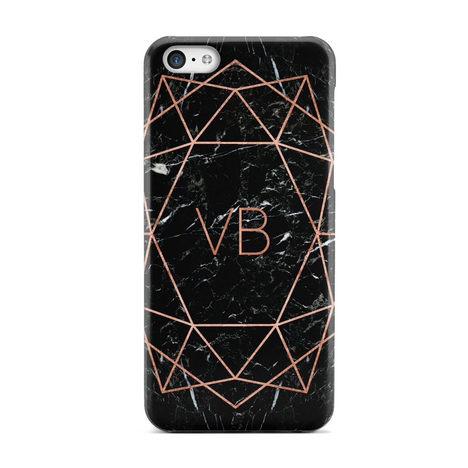 Personalised Rose Gold Geometric Initials Apple iPhone 5c Case