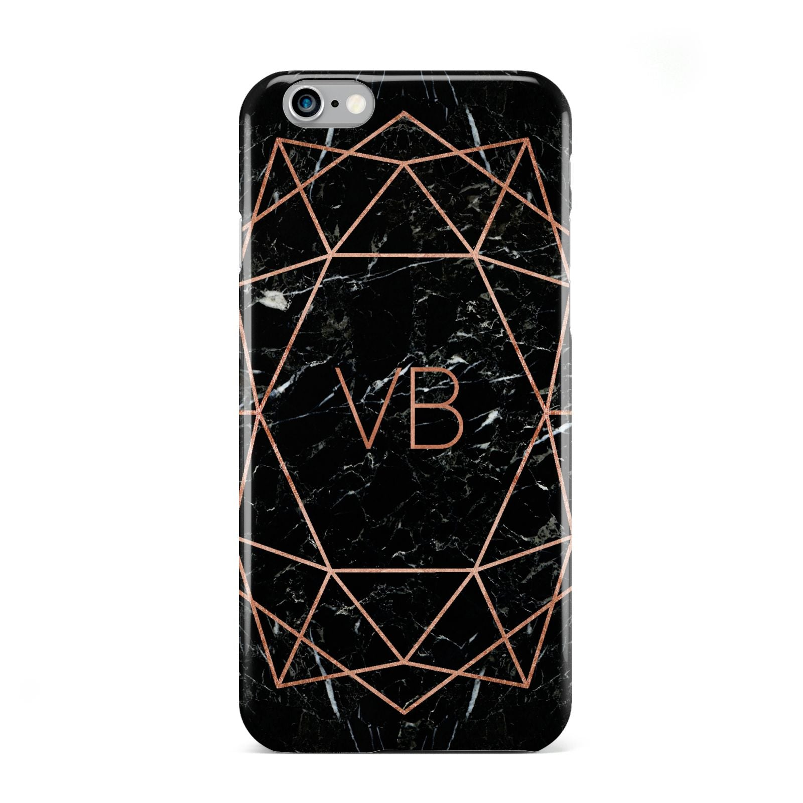 Personalised Rose Gold Geometric Initials Apple iPhone 6 Case