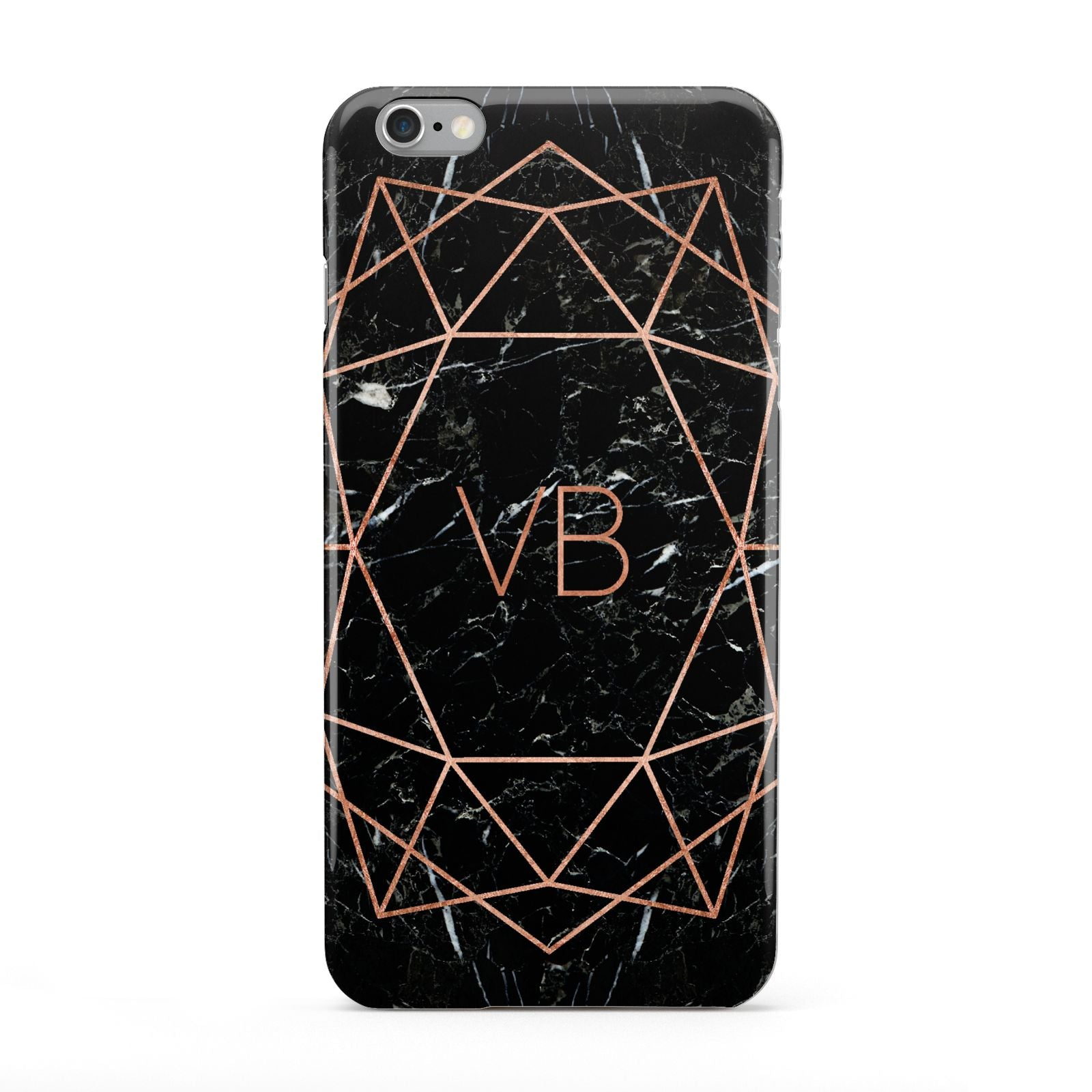 Personalised Rose Gold Geometric Initials Apple iPhone 6 Plus Case