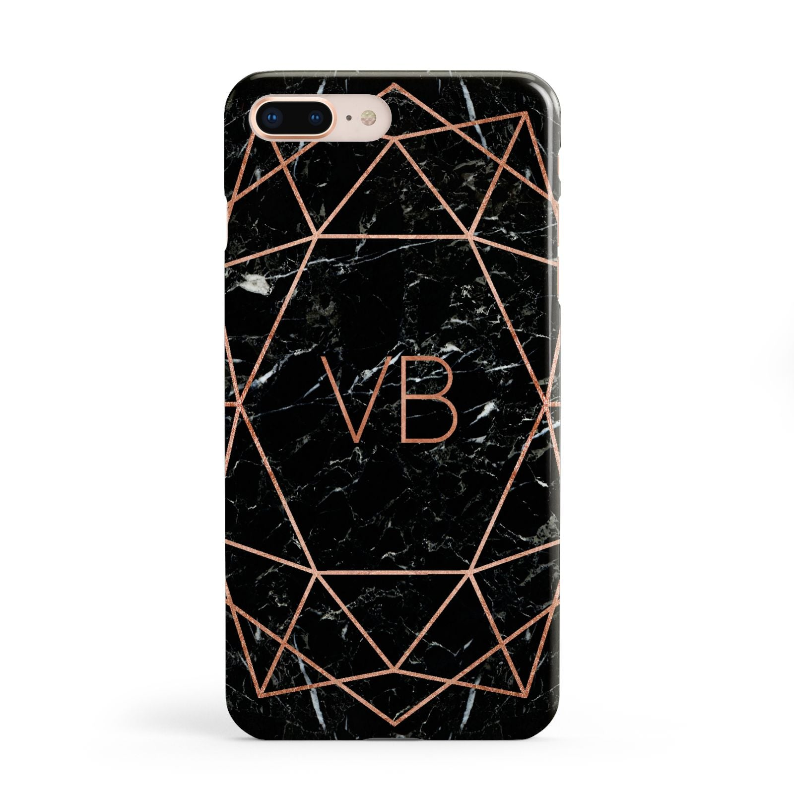 Personalised Rose Gold Geometric Initials Apple iPhone 8 Plus Case