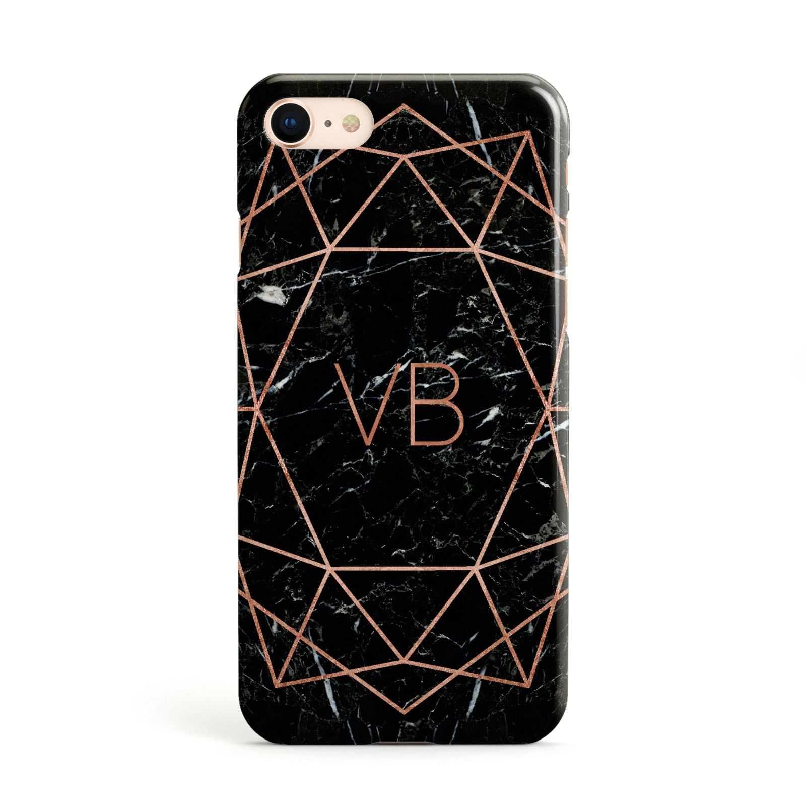Personalised Rose Gold Geometric Initials Apple iPhone Case